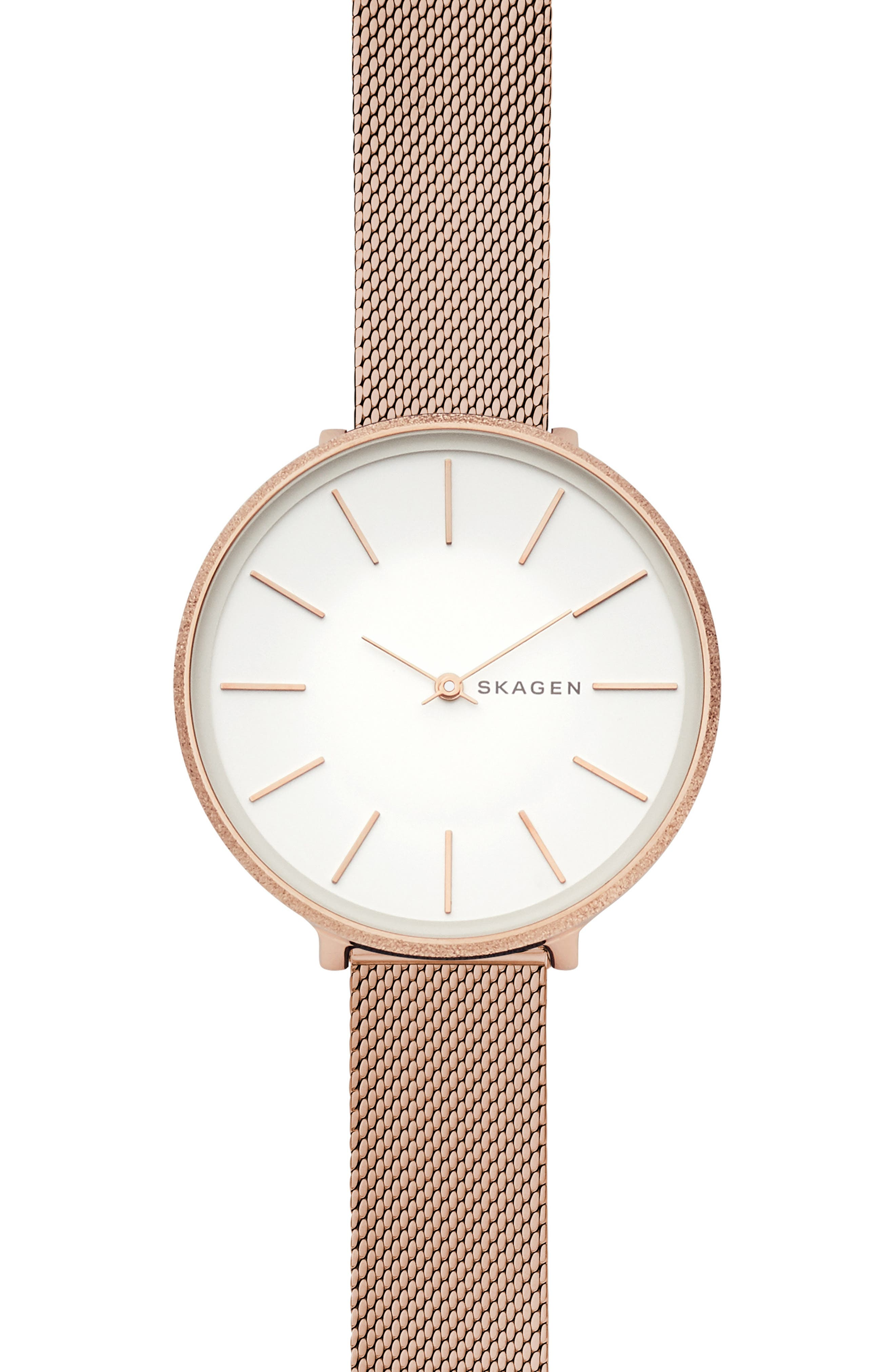 SKAGEN WOMEN'S KAROLINA ROSE GOLD-TONE STAINLESS STEEL MESH BRACELET WATCH 38MM