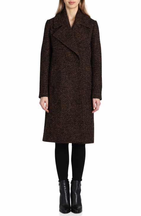 5a8269fca589a Badgley Mischka Notch Collar Bouclé Wool Blend Coat