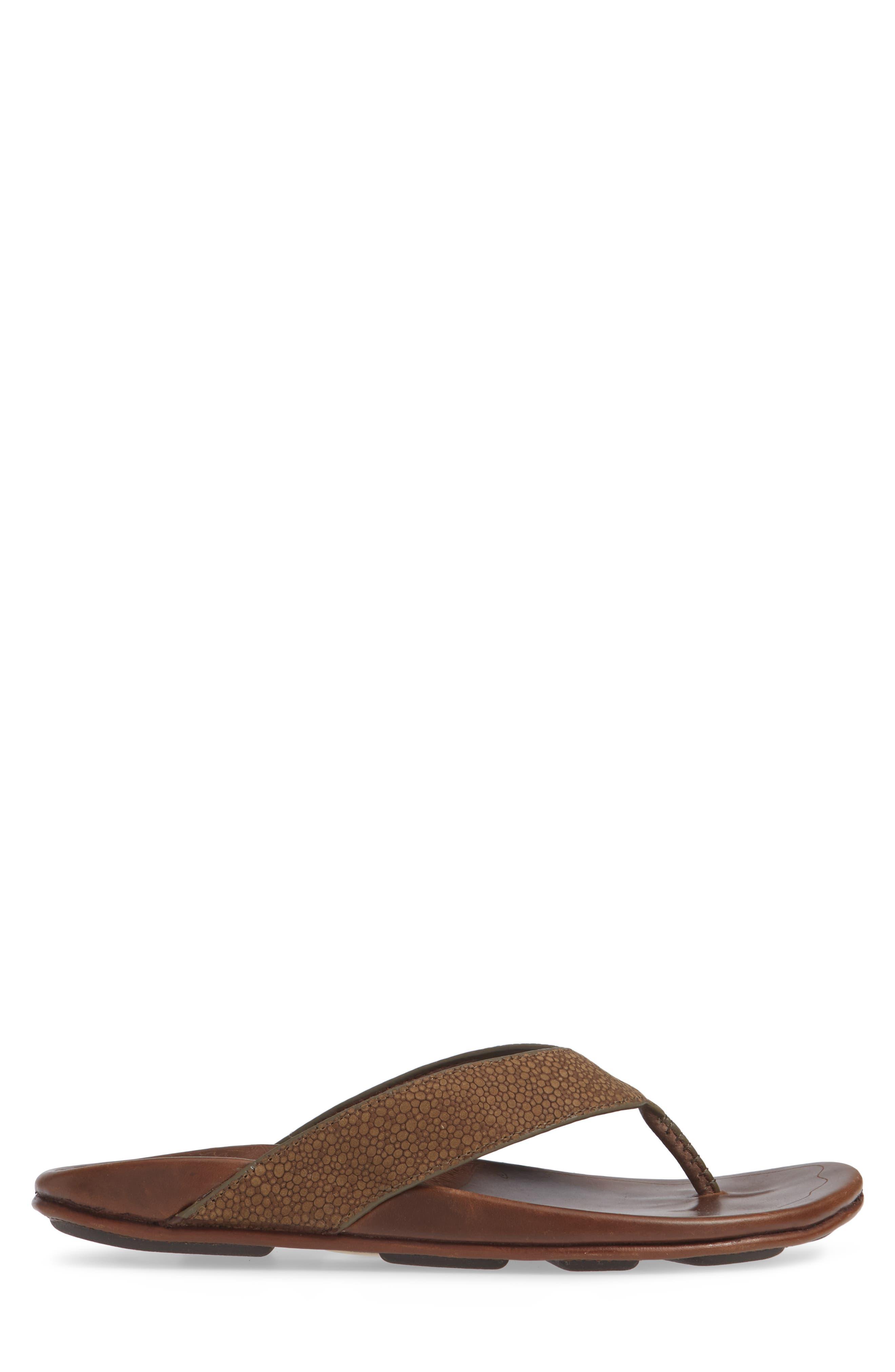 Kohana Kai Flip Flop,                             Alternate thumbnail 3, color,                             Mustang/ Toffee