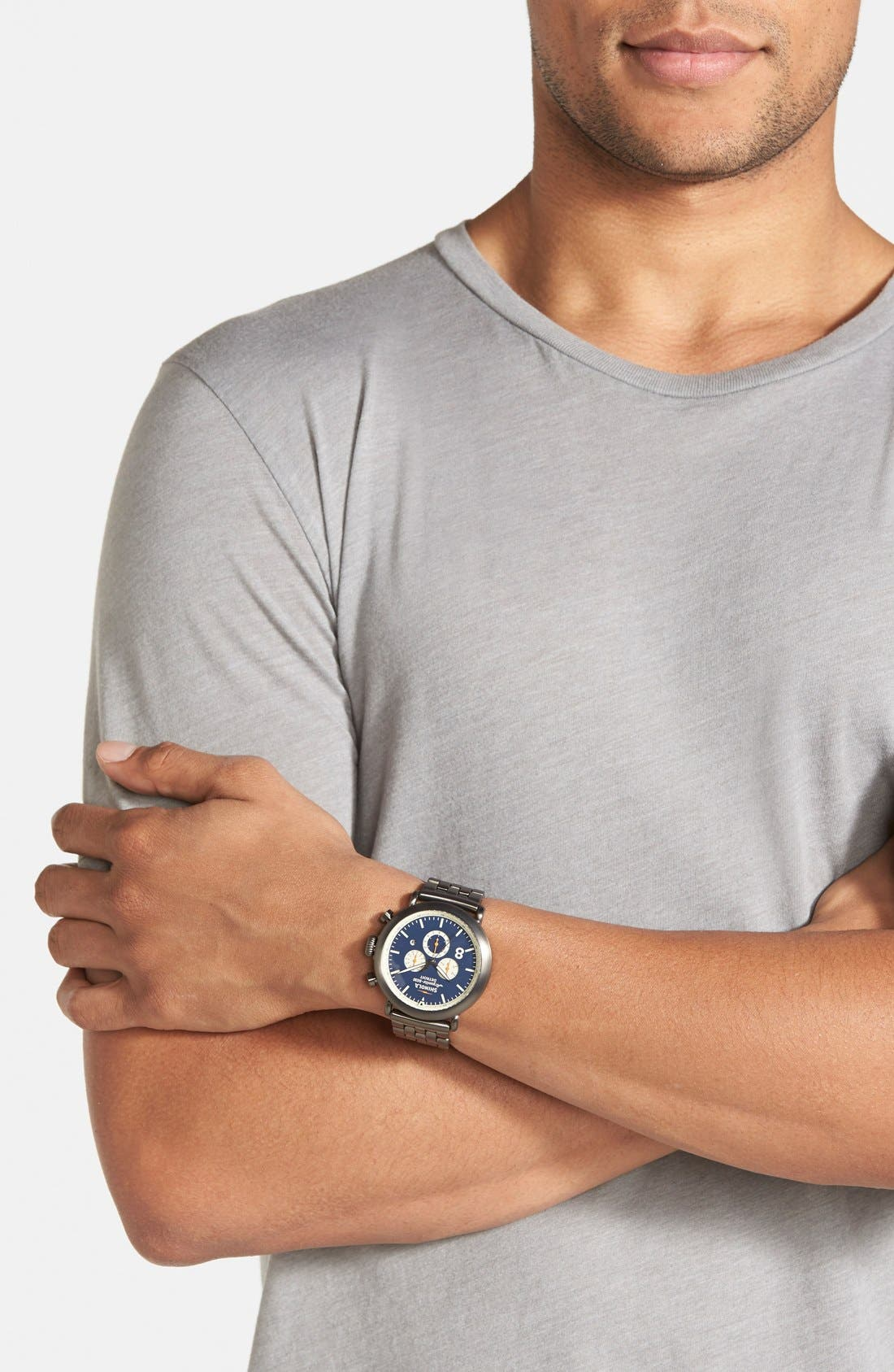 'The Runwell Contrast Chrono' Bracelet Watch, 47mm,                             Alternate thumbnail 6, color,                             Gunmetal/ Blue