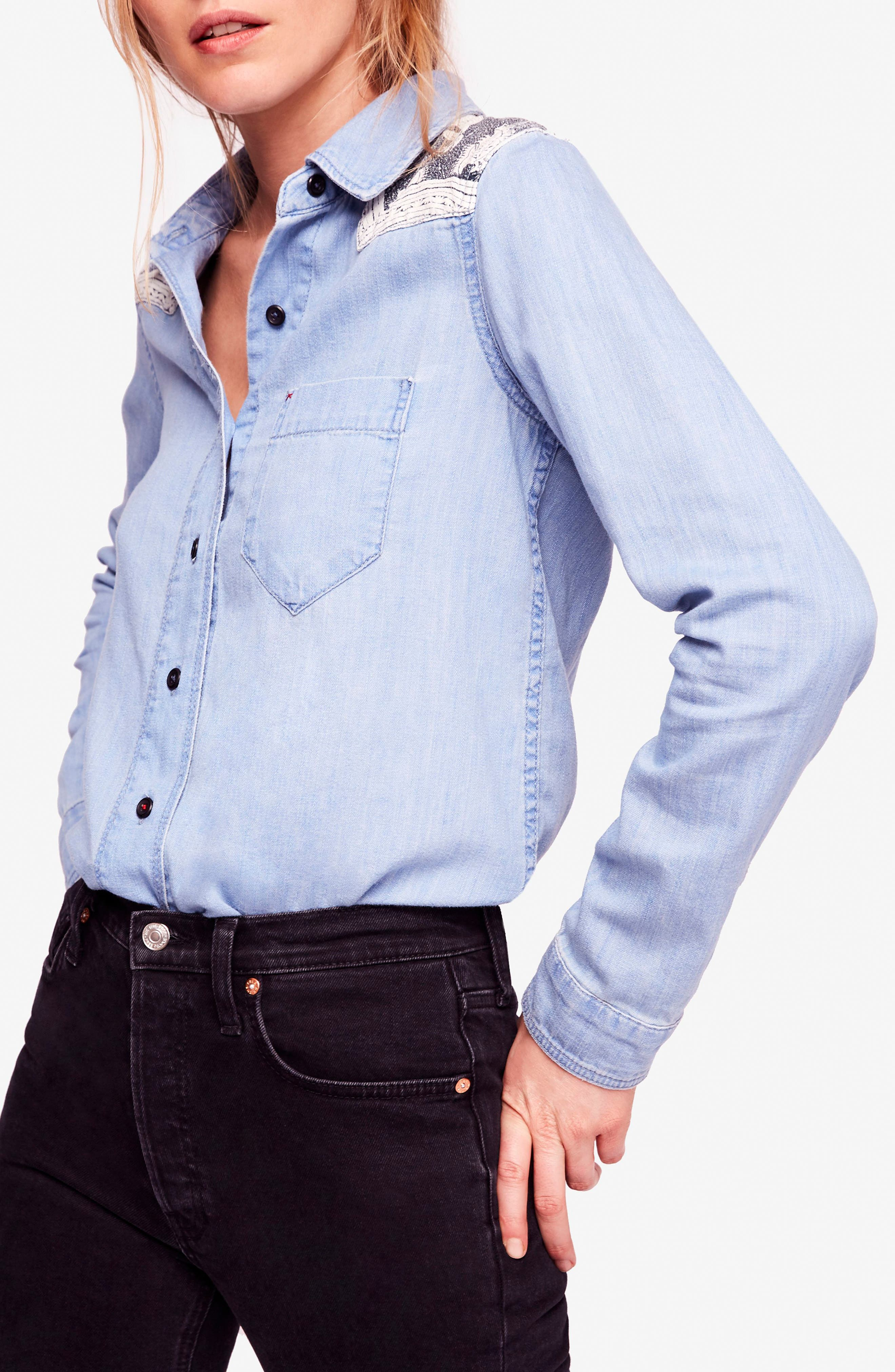 Meet Me in Marfa Western Shirt,                             Main thumbnail 1, color,                             Blue