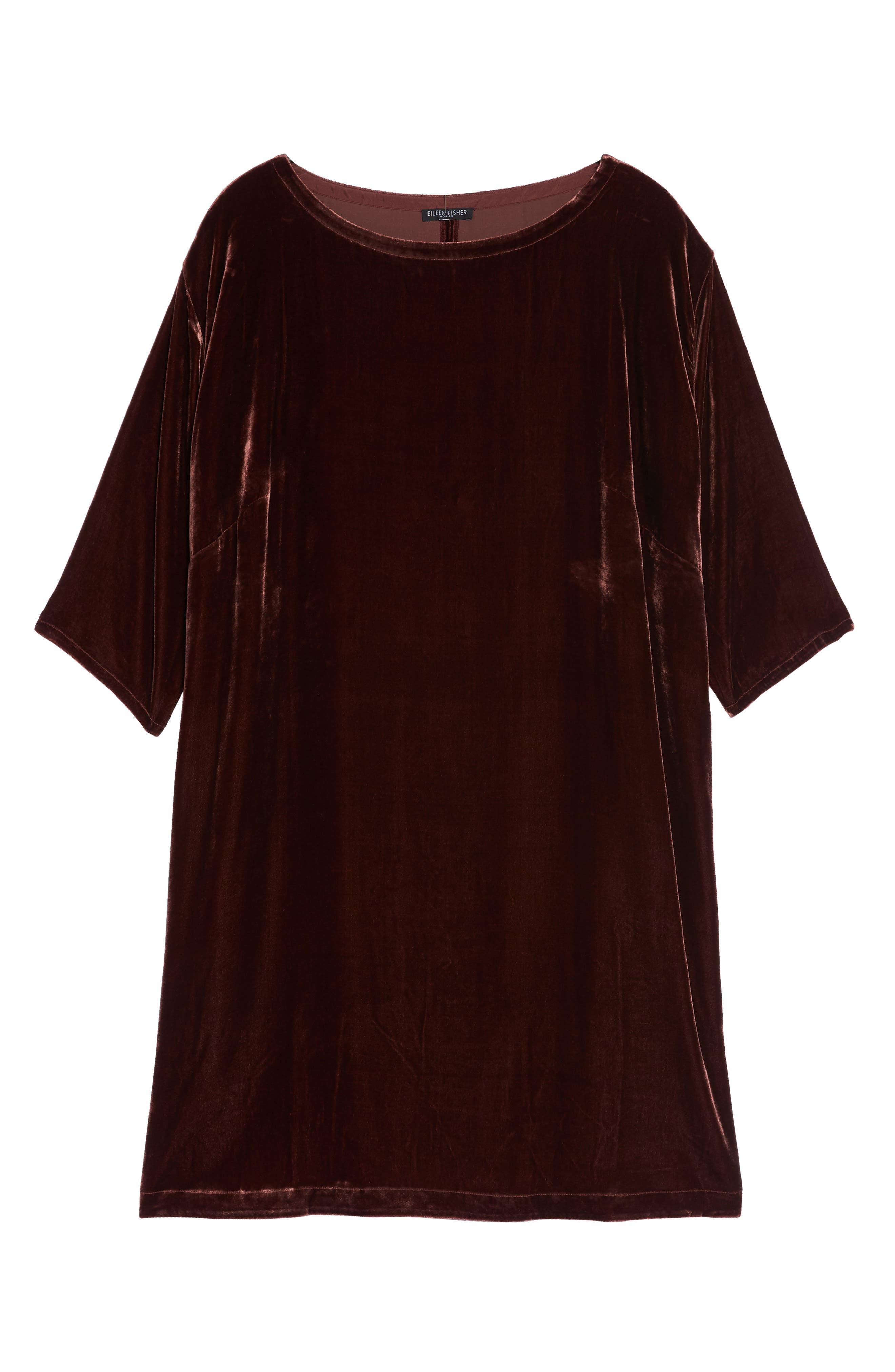 Velvet Shift Dress,                             Alternate thumbnail 7, color,                             Dark Monterey