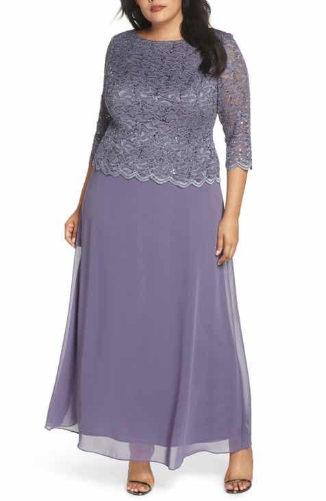 807d9959a85 Alex Evenings Lace   Chiffon Gown (Plus Size)