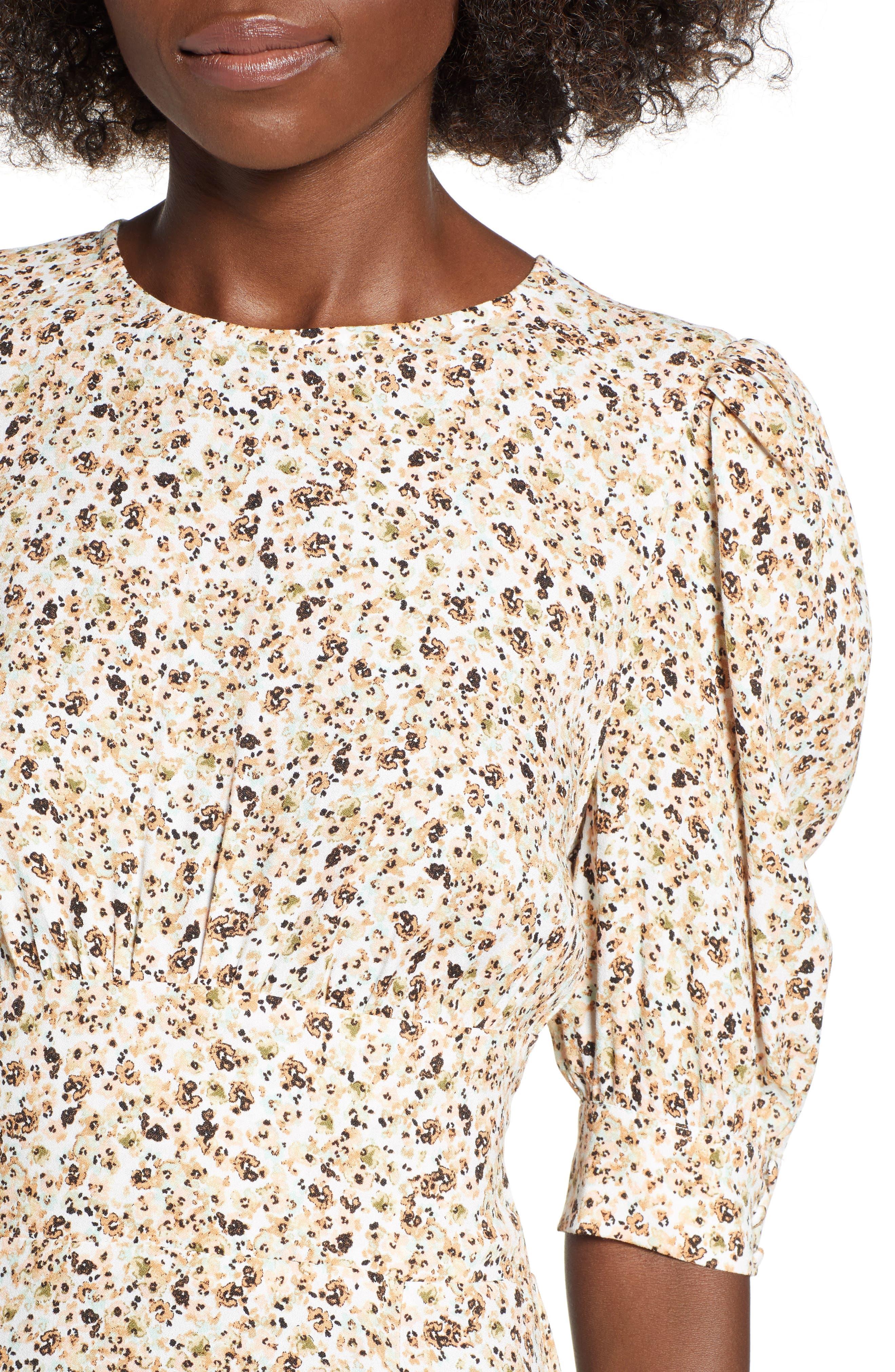 Lala Midi Dress,                             Alternate thumbnail 3, color,                             Beige Ditsy