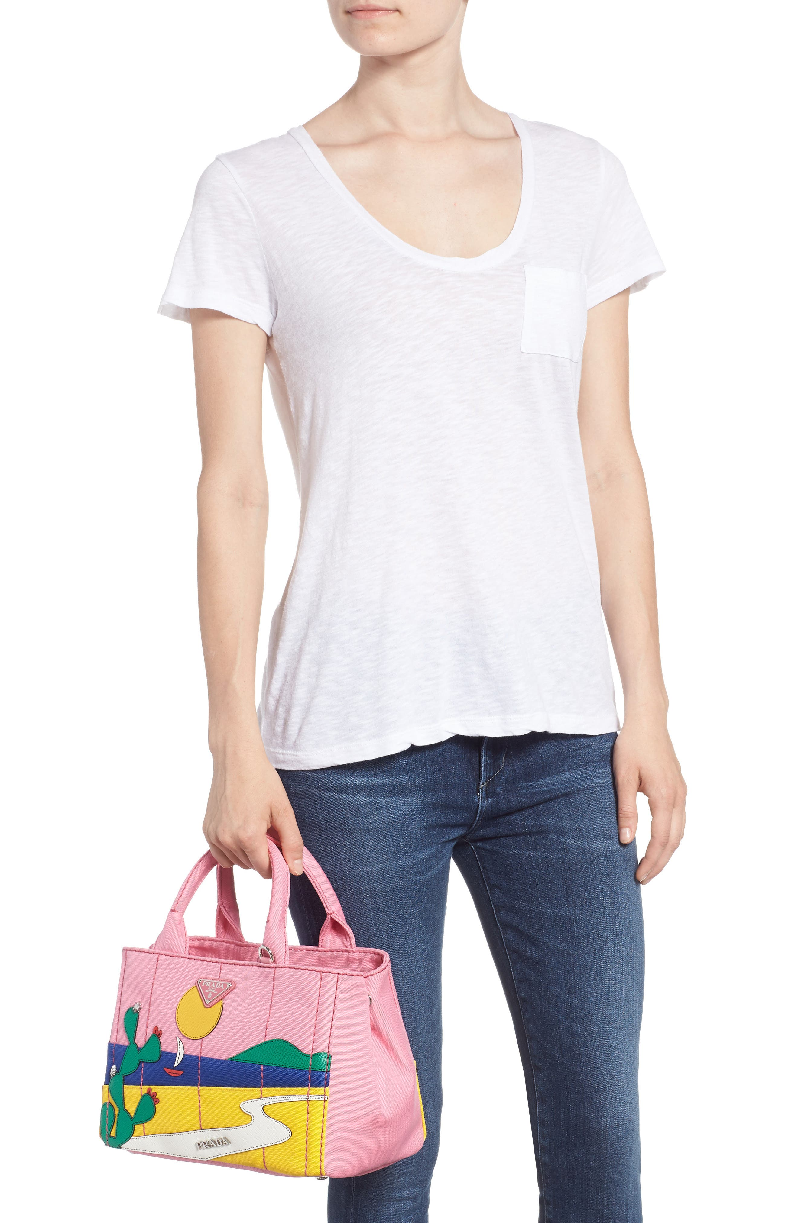 Desert Motif Patch Leather & Canvas Tote,                             Alternate thumbnail 2, color,                             Pink