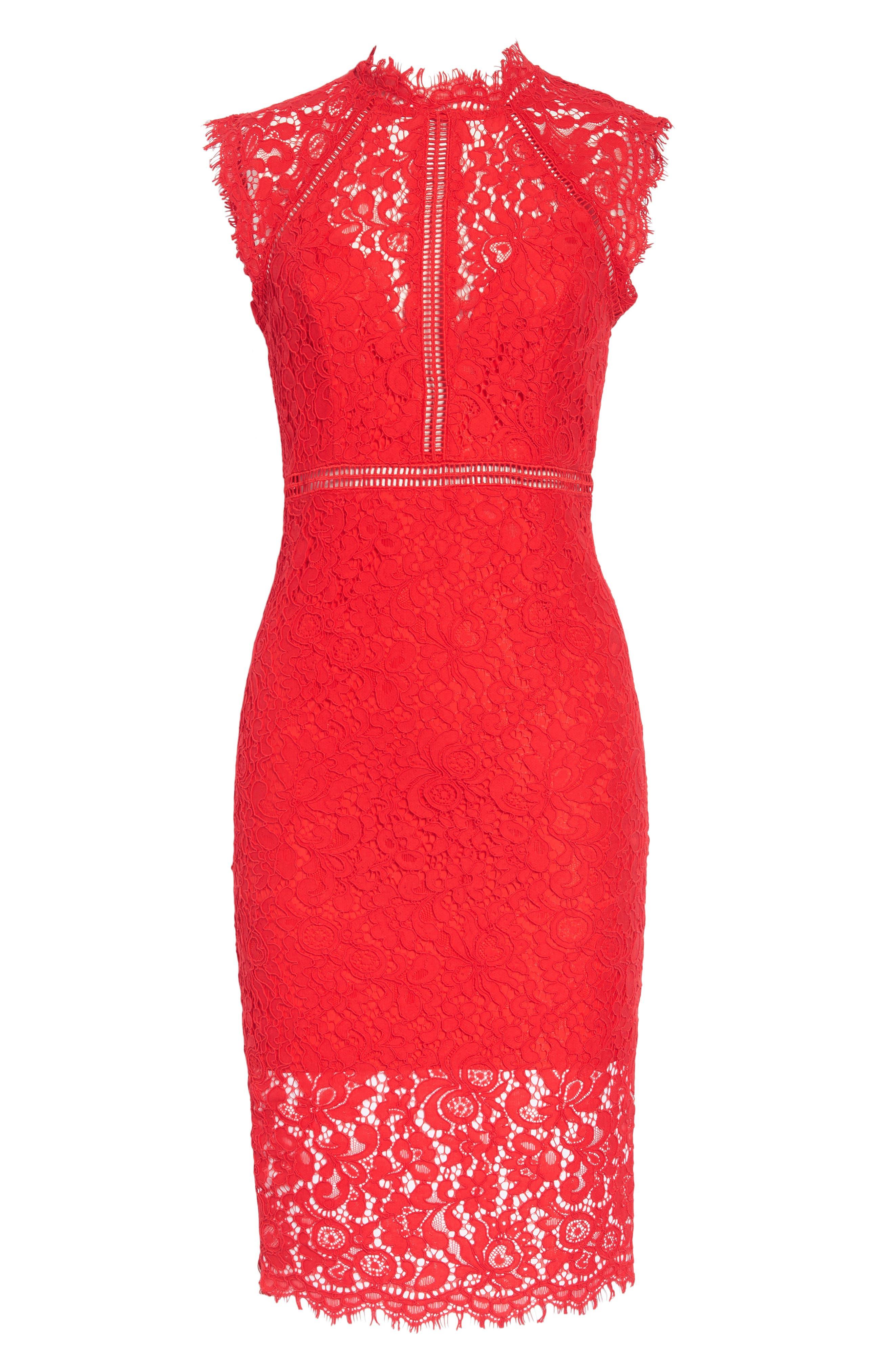 Lace Sheath Dress,                             Alternate thumbnail 5, color,                             Red