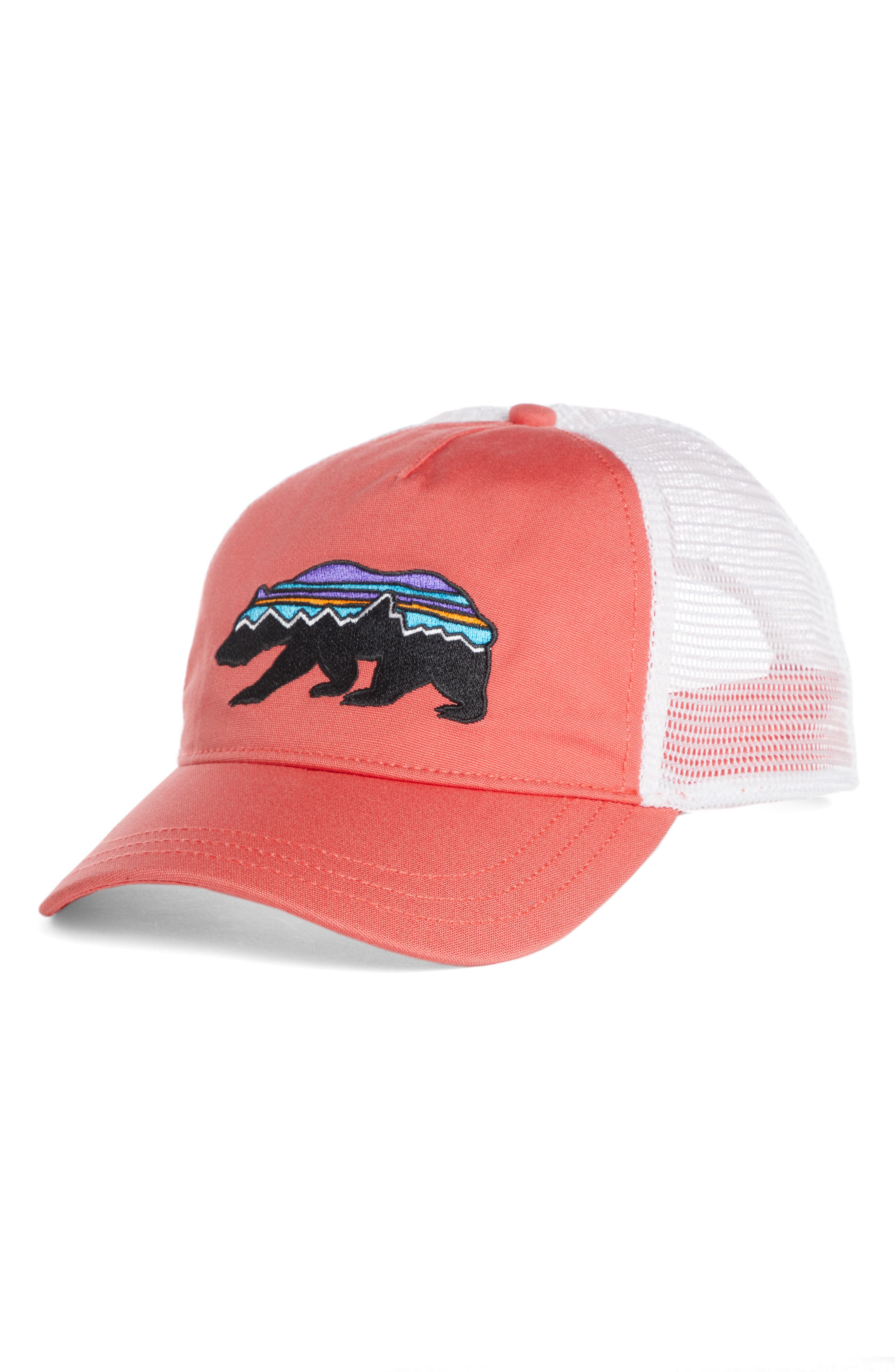 Fitz Roy Bear Trucker Hat,                         Main,                         color, Spiced Coral