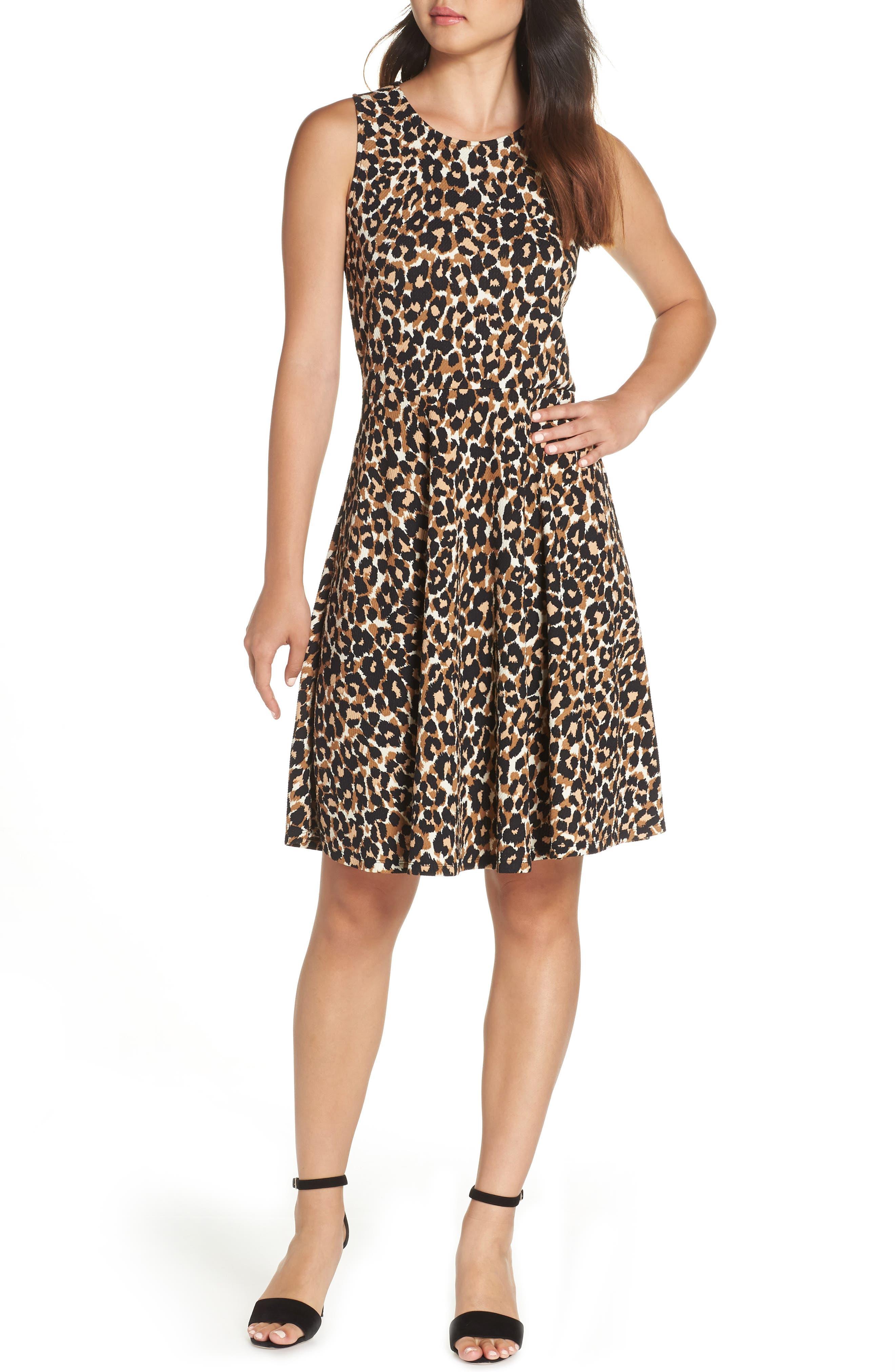 Ava Fit & Flare Dress,                         Main,                         color, Leo