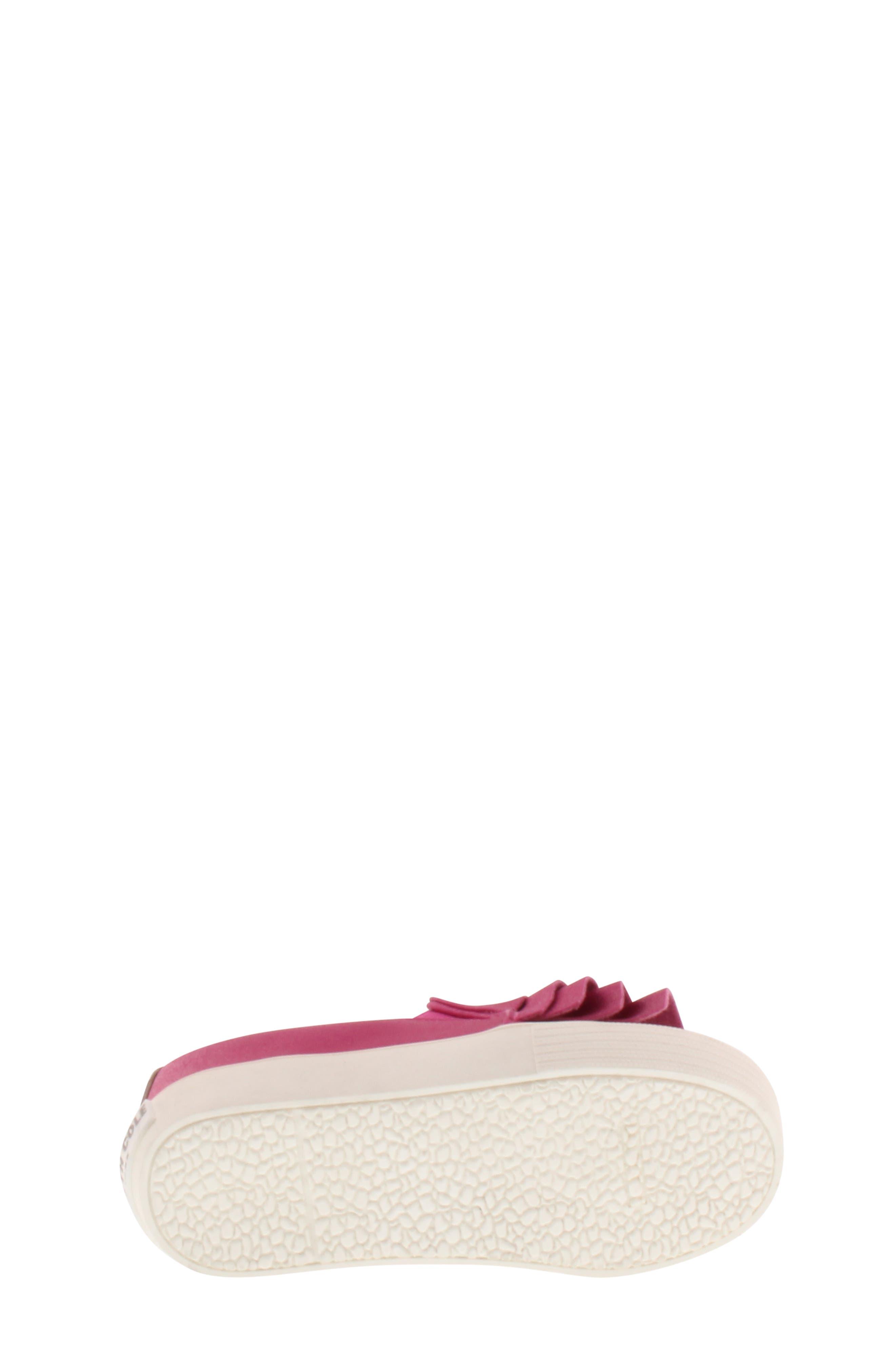 Shimmery Kam Ruffle Slip-On Sneaker,                             Alternate thumbnail 6, color,                             Fuchsia