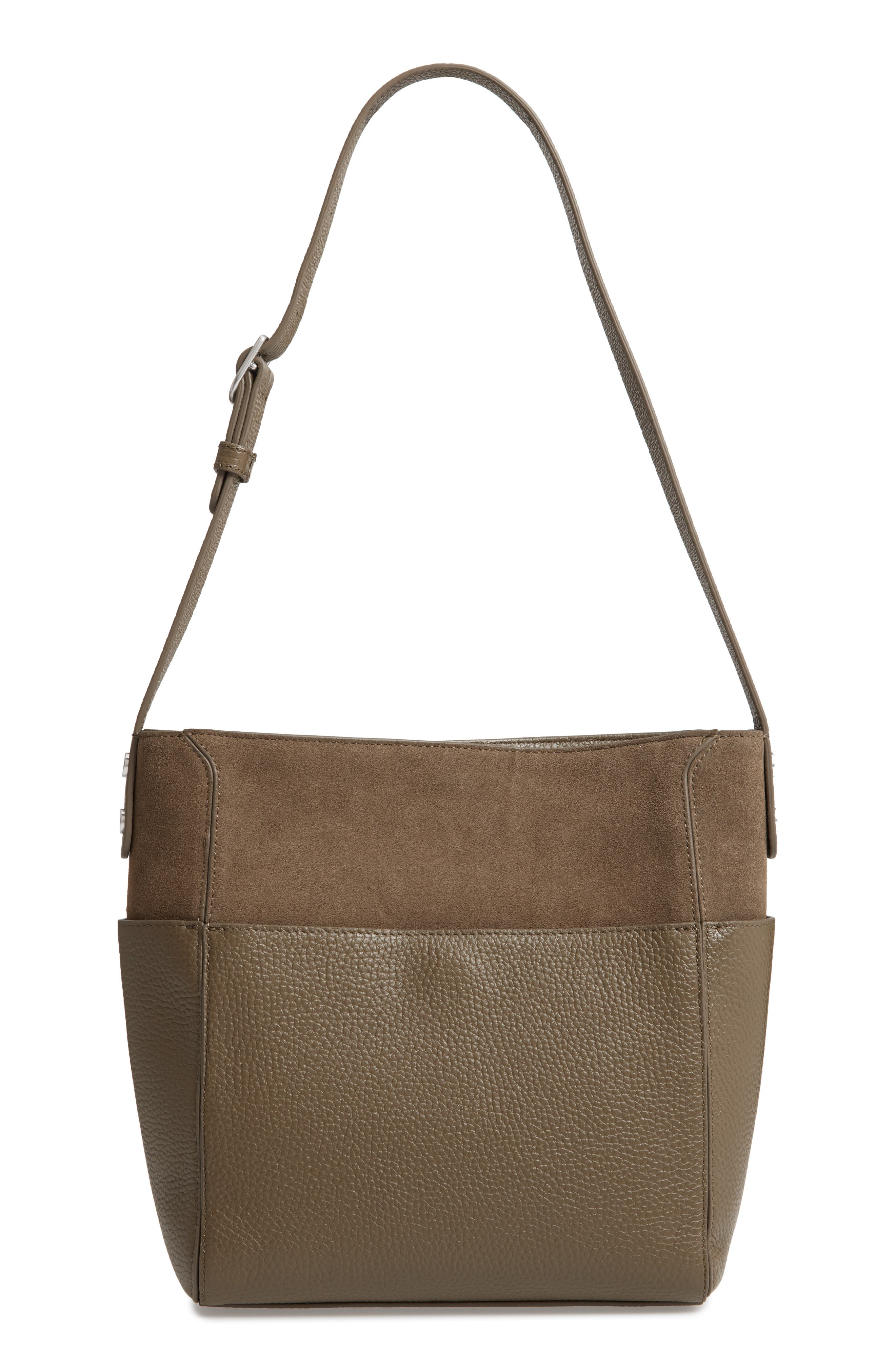Campbell Leather & Suede Bucket Bag,                             Main thumbnail 1, color,                             Olive Grove