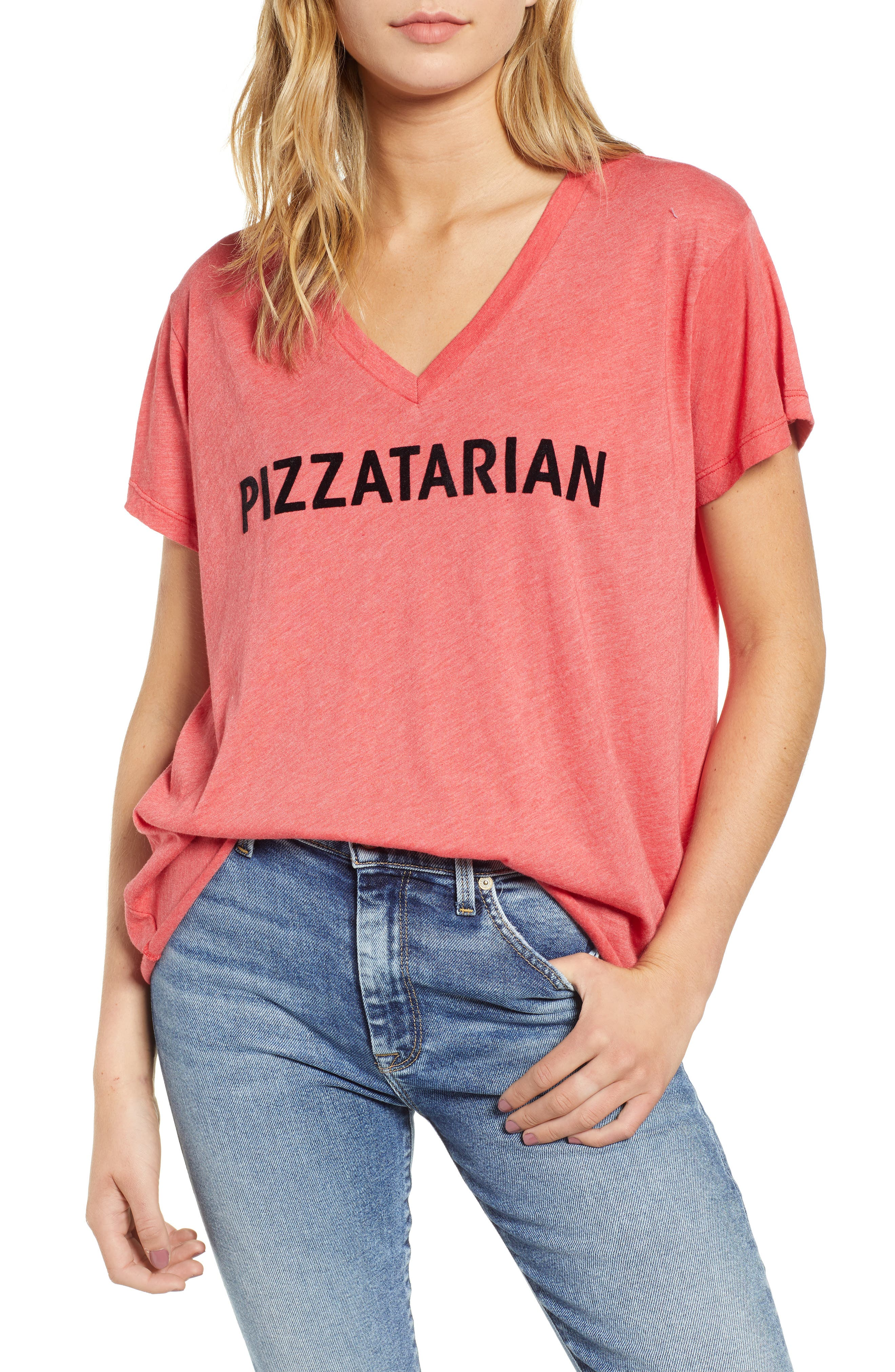 Pizzatarian Romeo Tee,                             Main thumbnail 1, color,                             Scarlet