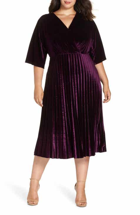 Maggy London Pleated Velvet Dress
