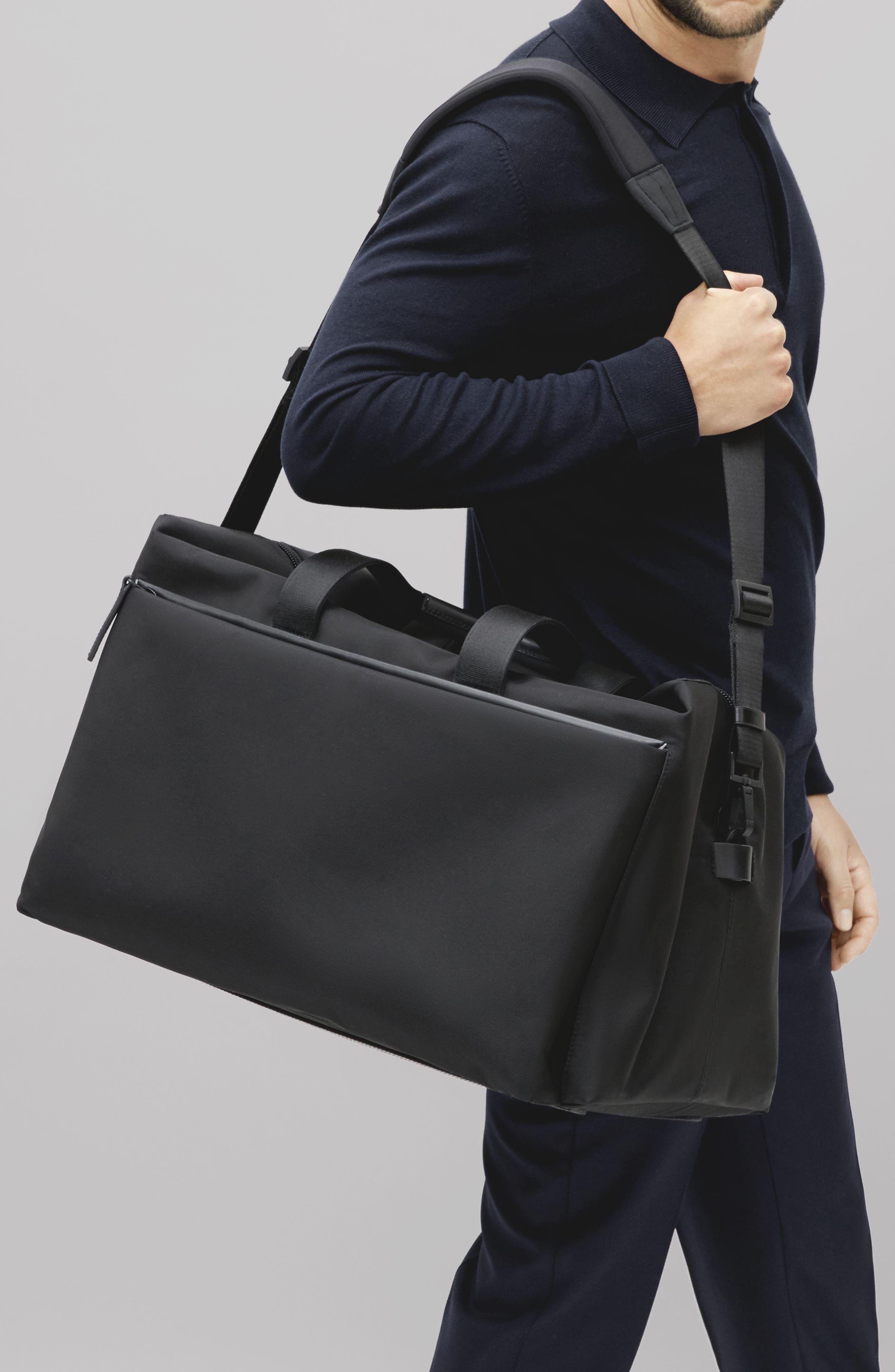 Lightweight Duffel Bag,                             Alternate thumbnail 10, color,                             Black Nylon/ Black Leather