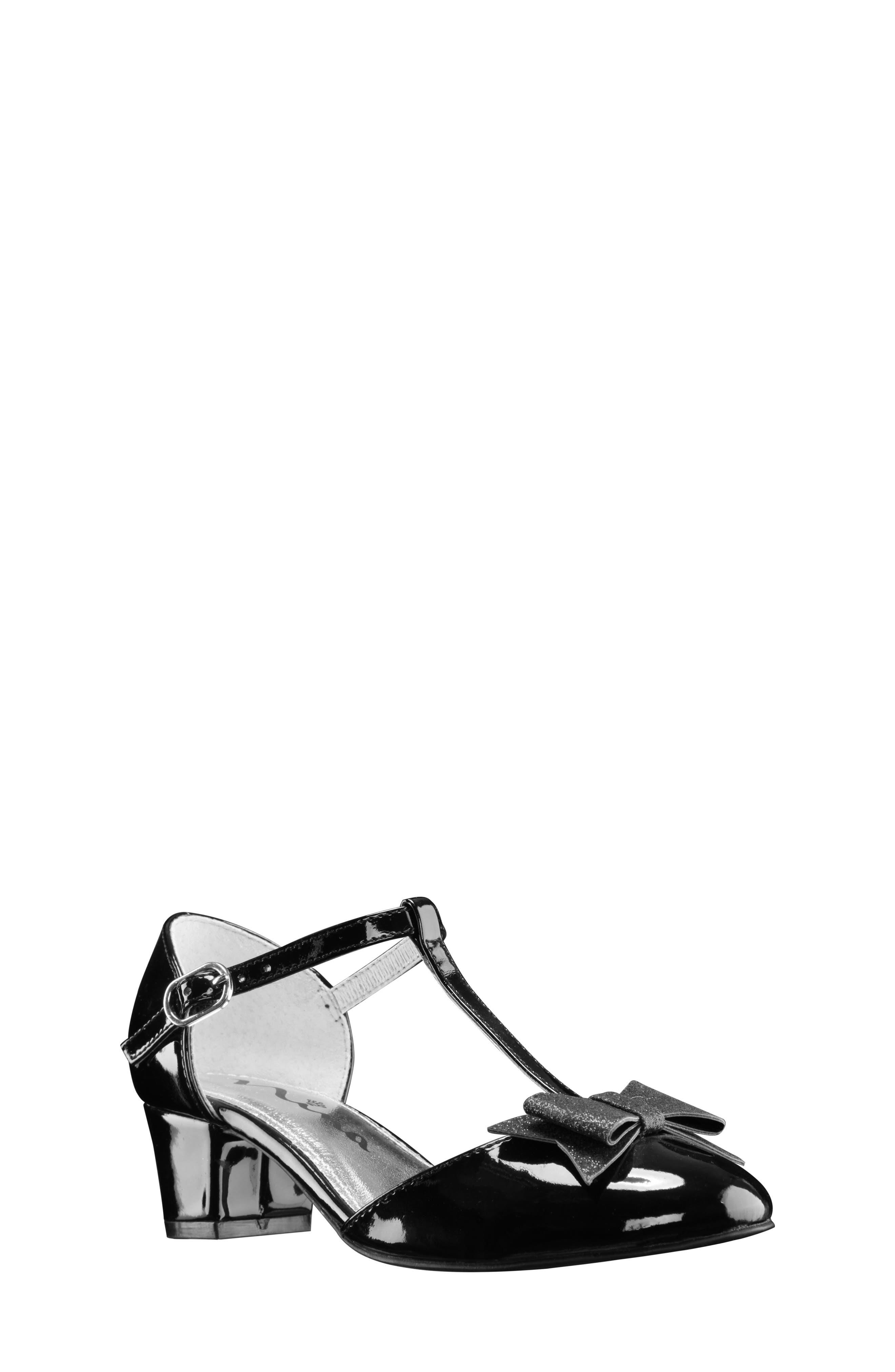 Marvette T-Strap Sandal,                             Main thumbnail 1, color,                             Black Patent
