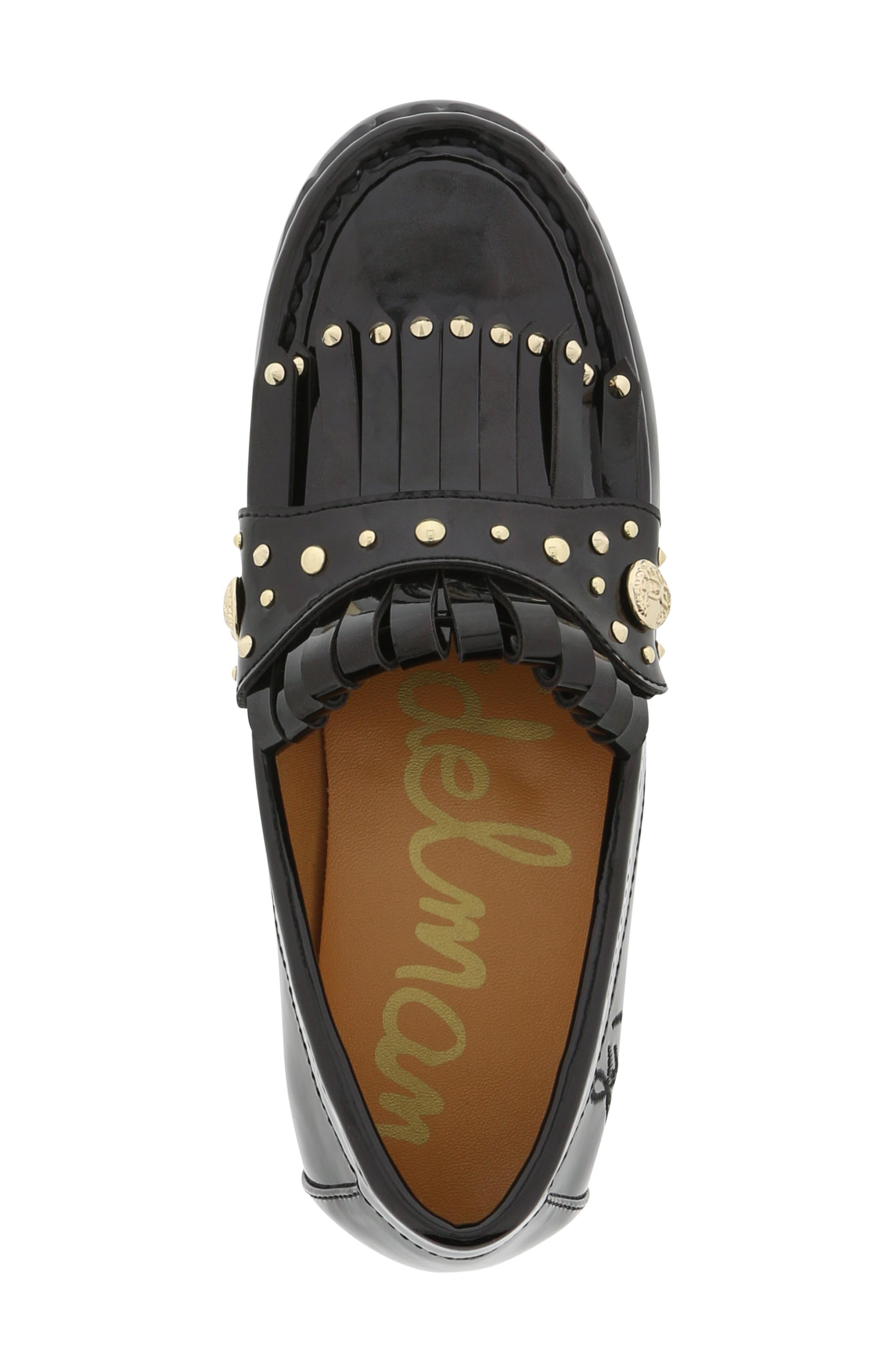 Gabriella Serona Studded Kiltie Loafer,                             Alternate thumbnail 6, color,                             Black