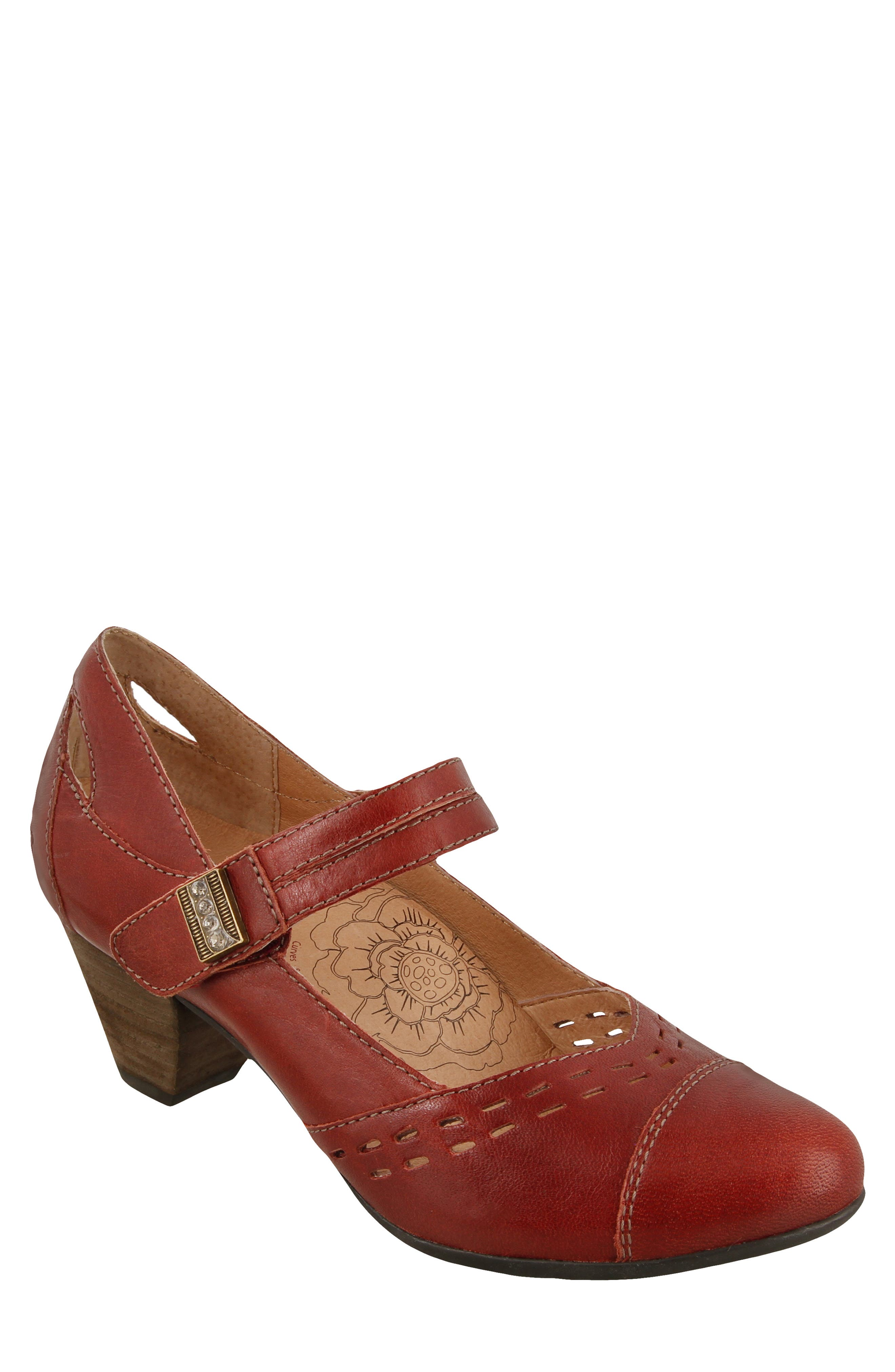 Stunner Laser Cutout Mary Jane Pump,                             Main thumbnail 1, color,                             Red Leather