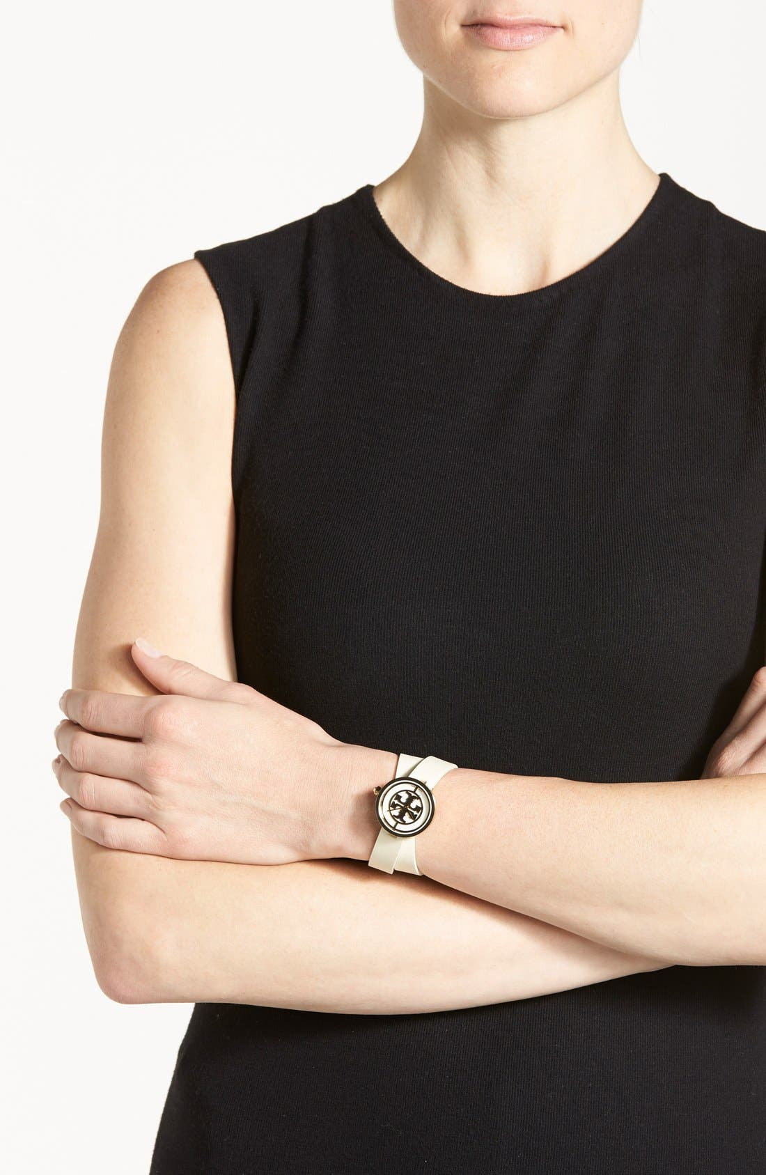 Alternate Image 4  - Tory Burch 'Reva' Logo Dial Double Wrap Leather Strap Watch, 28mm