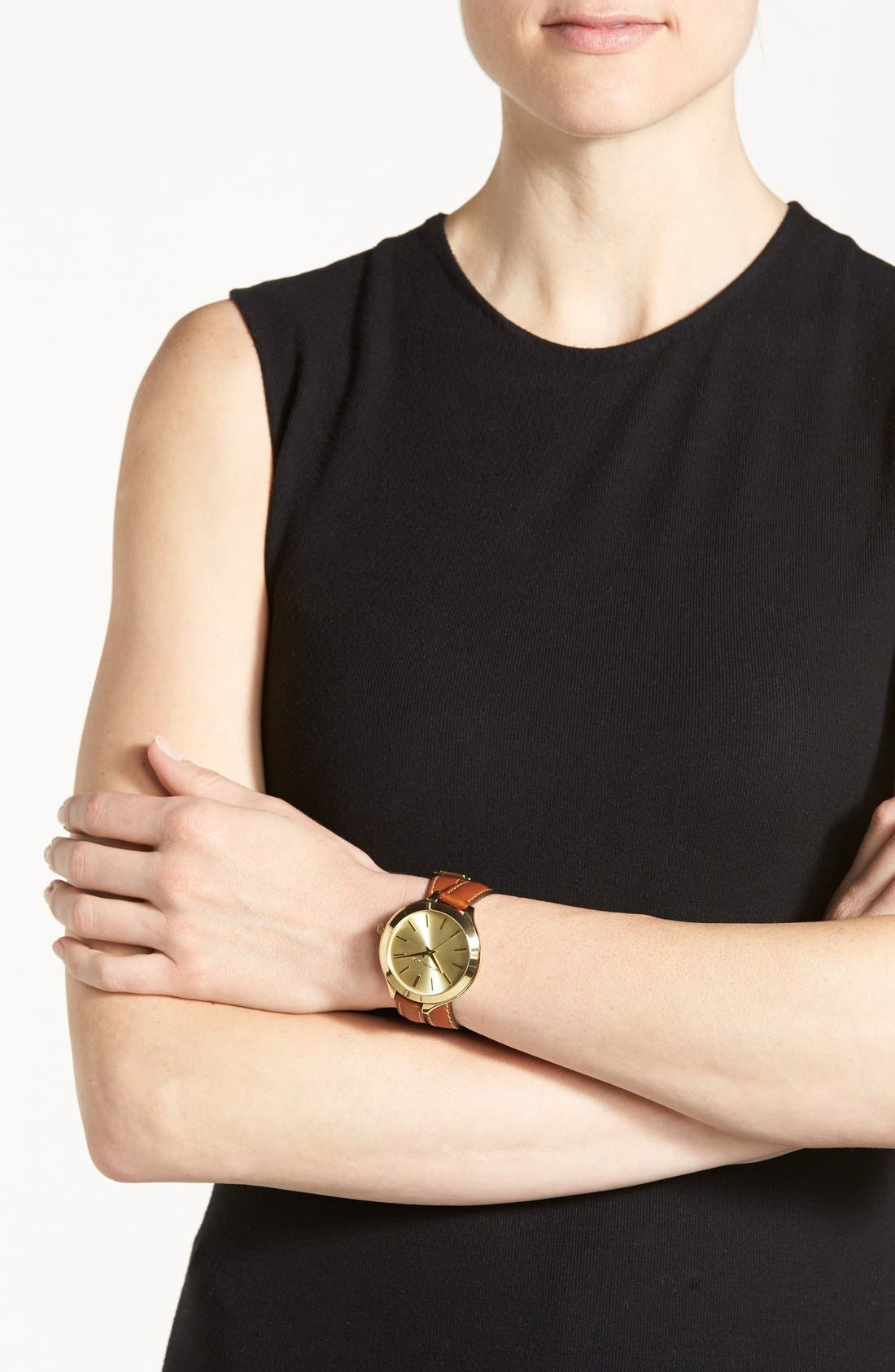 Alternate Image 4  - Michael Kors Double Wrap Leather Strap Watch, 42mm