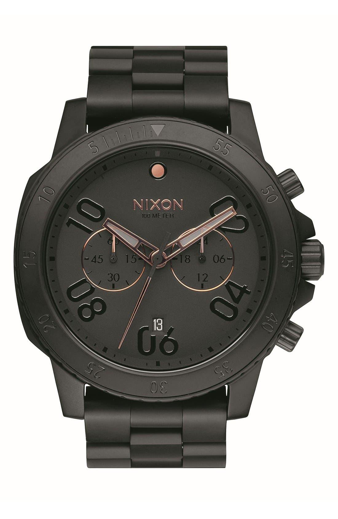 'Ranger' Chronograph Bracelet Watch, 44mm,                         Main,                         color, Black/ Rose Gold