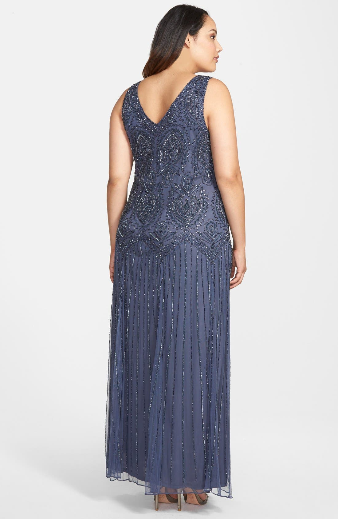 Alternate Image 2  - Pisarro Nights Beaded V-Neck Gown & Jacket (Plus Size)