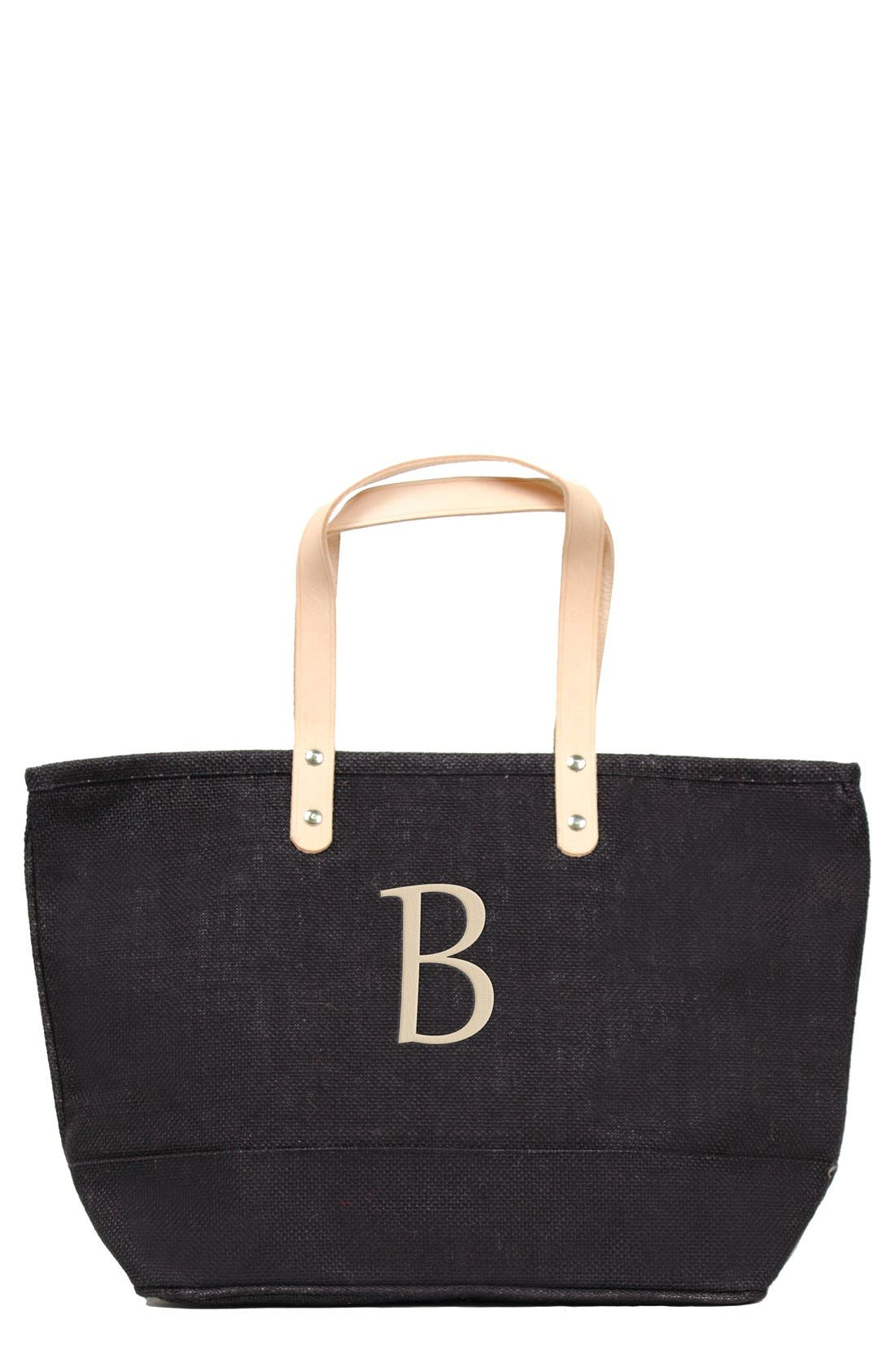 Alternate Image 1 Selected - Cathy's Concepts 'Nantucket' Monogram Jute Tote