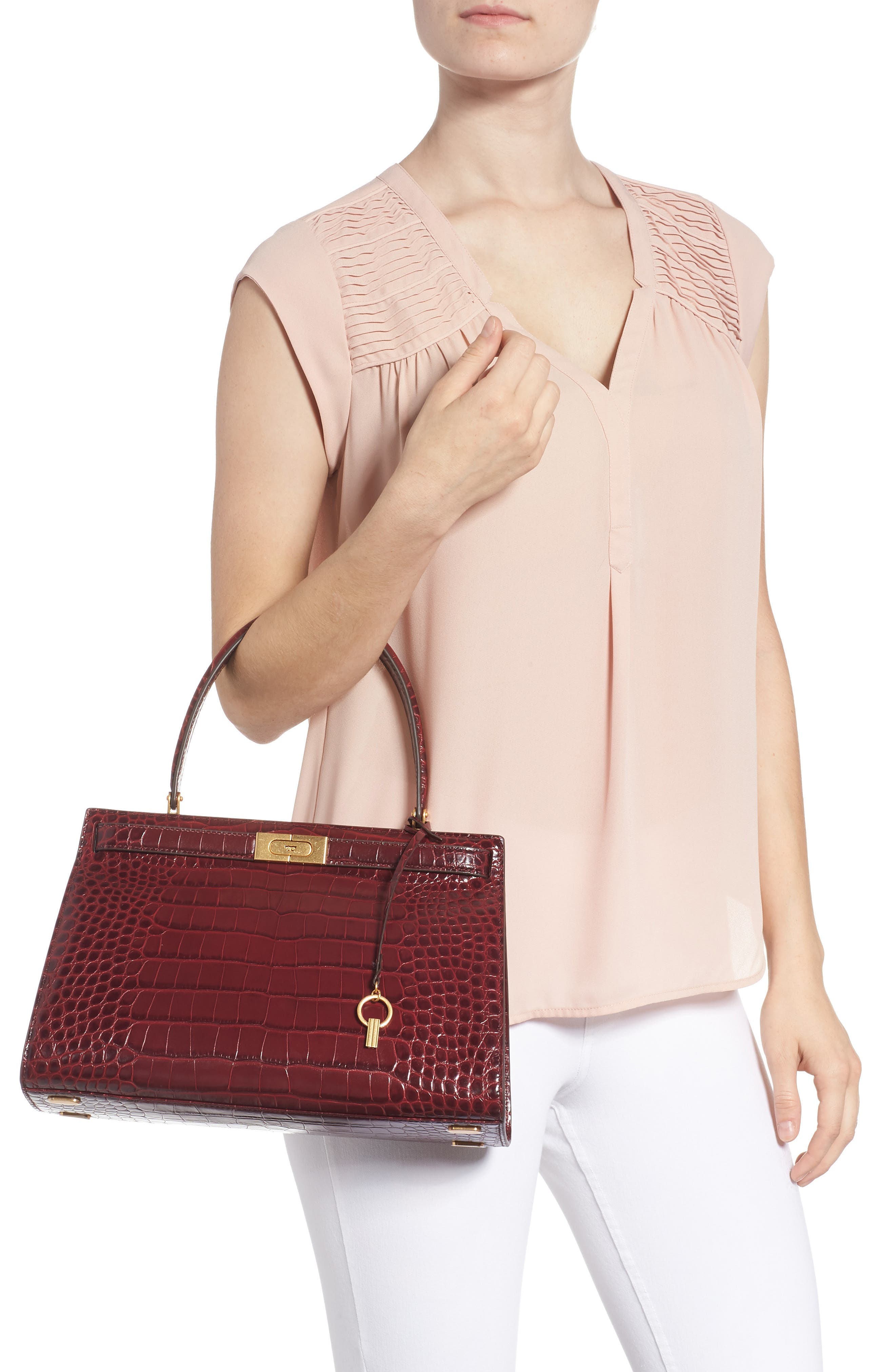 Lee Radziwill Leather Satchel,                             Alternate thumbnail 2, color,                             Claret