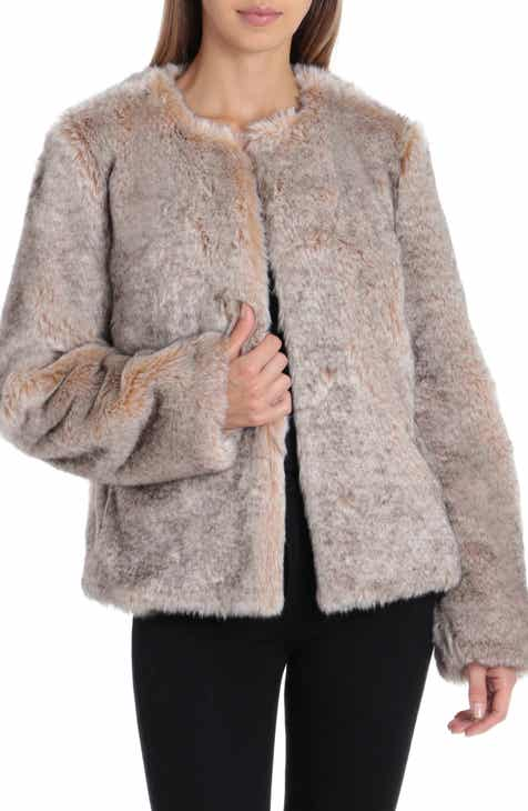 594e978a0c Badgley Mischka Collarless Faux Fur Jacket