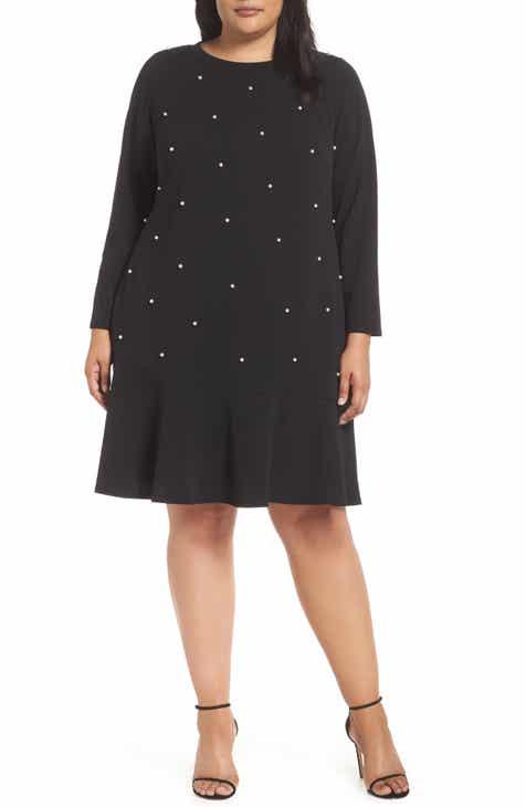 a449a57519f ECI Pearly Bead Shift Dress (Plus Size)