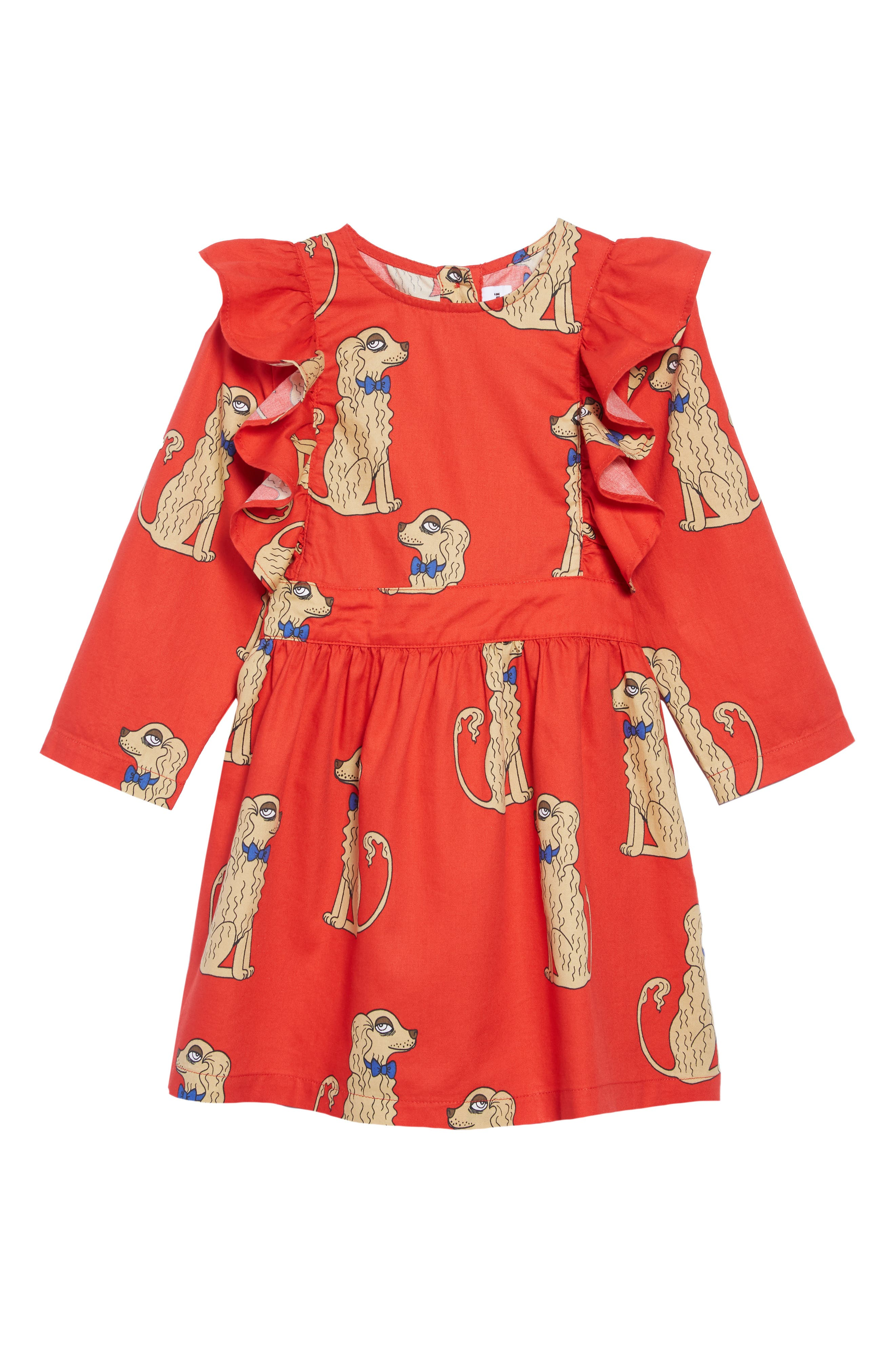 Spaniels Ruffle Dress,                         Main,                         color, Red