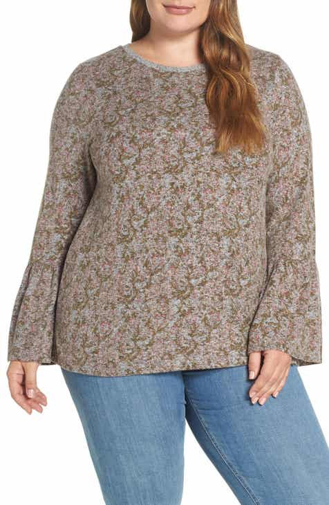 40474b517d451 Lucky Brand Hacci Print Sweater (Plus Size)