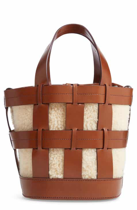 Trademark Cooper Cage Leather Genuine Shearling Tote