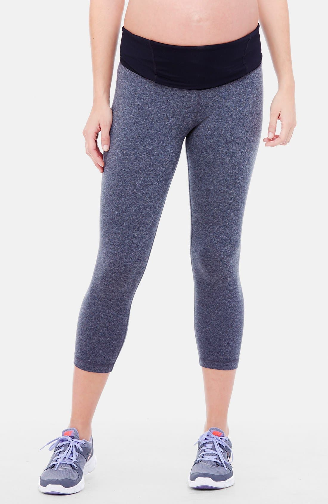 Active Maternity Capri Pants with Crossover Panel,                             Alternate thumbnail 3, color,                             Dark Heather Grey
