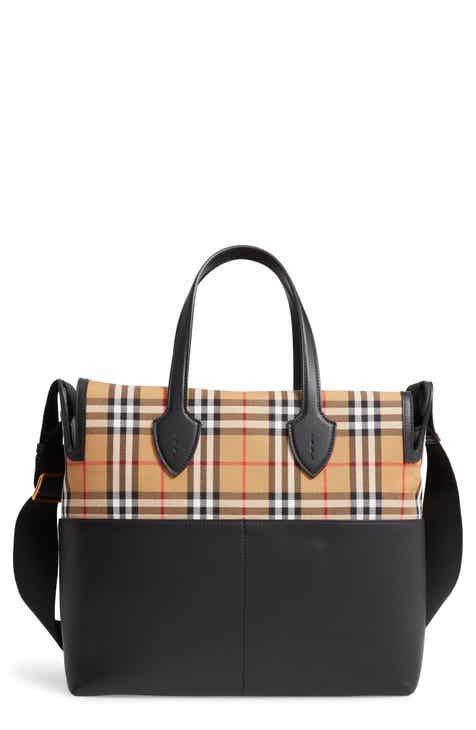 Burberry Kingswood Vintage Check   Leather Diaper Tote 9d0bda891d594
