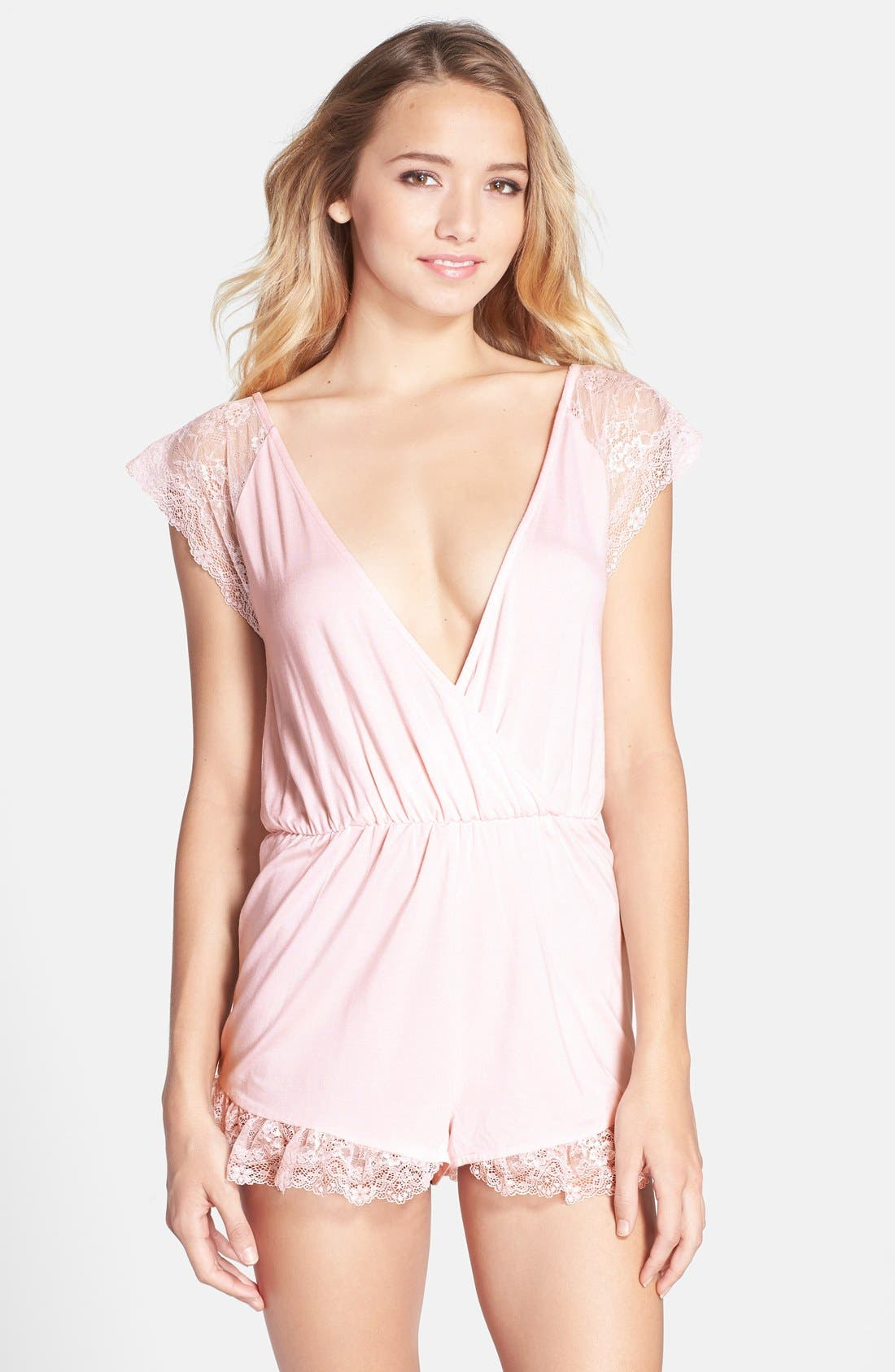 Alternate Image 1 Selected - Wildfox Ruffle Lace Trim Romper