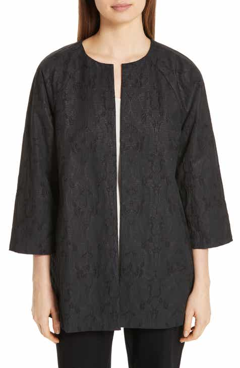 Eileen Fisher Metallic Jacquard Collarless Jacket (Regular, Petite & Plus Size) by EILEEN FISHER