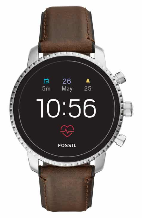 Fossil Q Explorist HR Leather Strap Smart Watch, 45mm