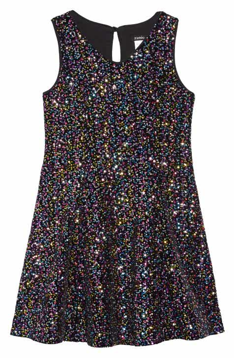 zunie velvet sequin embellished dress toddler girls little girls big girls