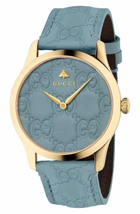 7a5551169be Gucci G-Timeless Logo Leather Strap Watch