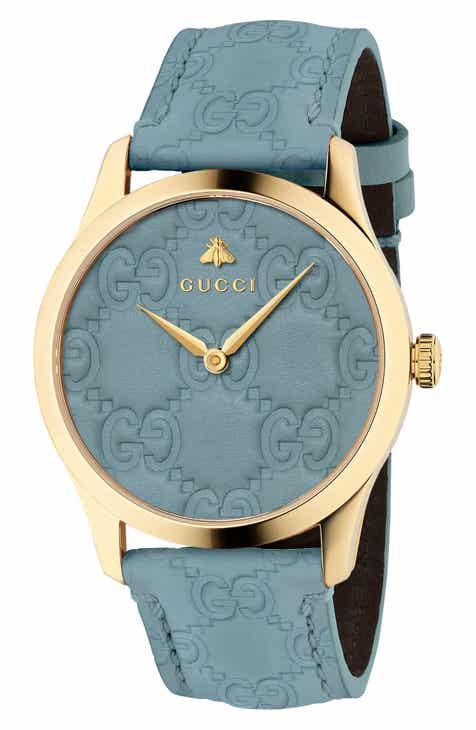 00b89bf235c Gucci G-Timeless Logo Leather Strap Watch