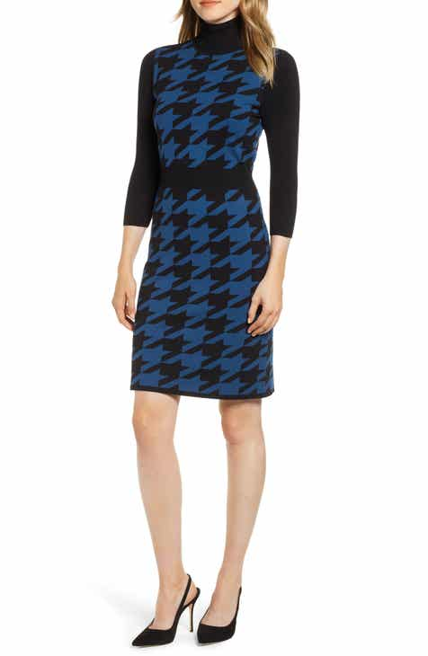 634fa19380e Anne Klein Turtleneck Houndstooth Sweater Dress