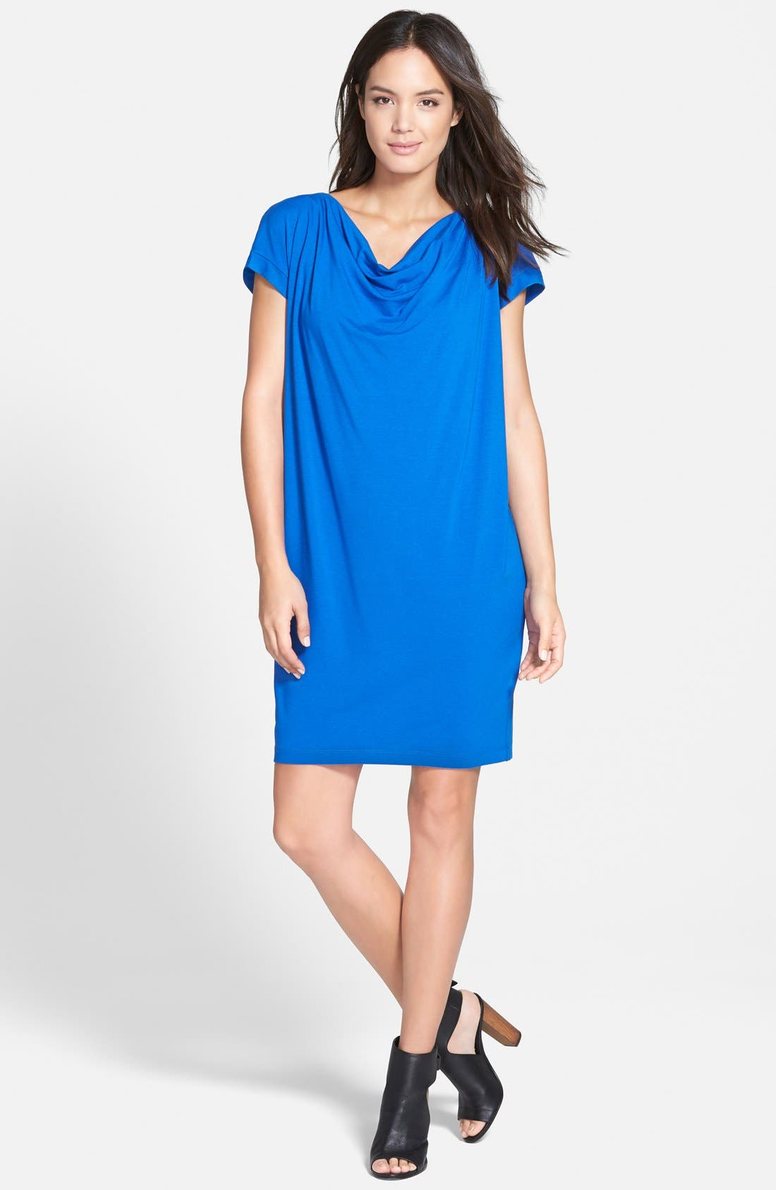 Main Image - Eileen Fisher Drape Front Shift Dress (Regular & Petite)