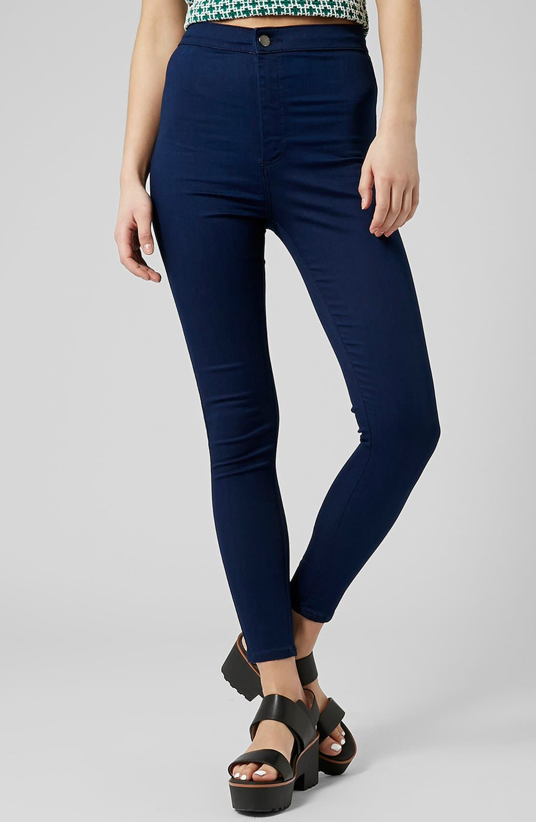 Main Image - Topshop Moto 'Joni' High Rise Skinny Jeans (Bright Blue)