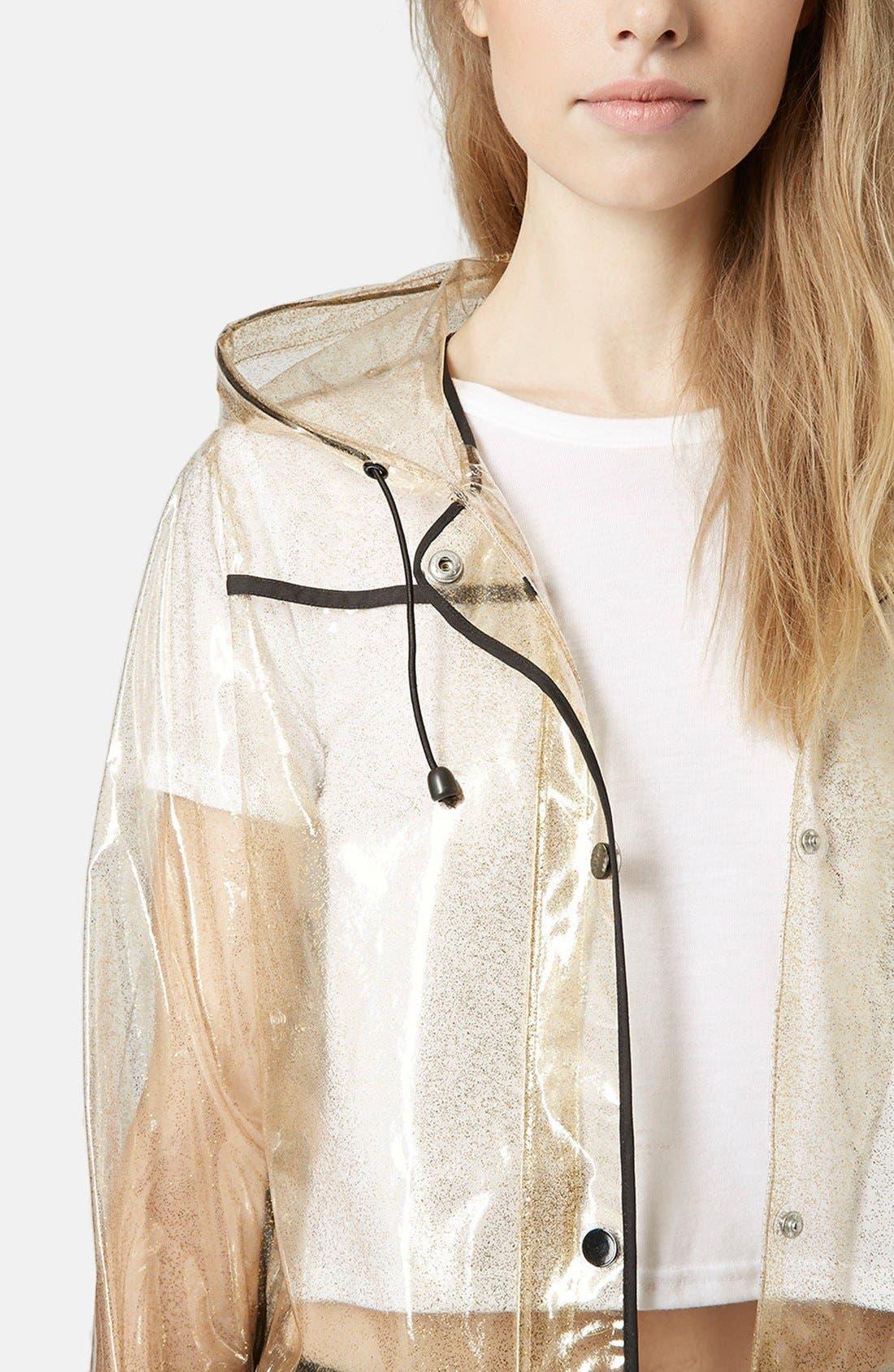 Gold Glitter Transparent Plastic Rain Jacket,                             Alternate thumbnail 4, color,                             Gold