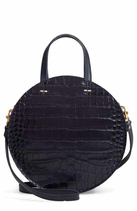 Clare V Pe Alistair Croc Embossed Leather Circular Crossbody Bag