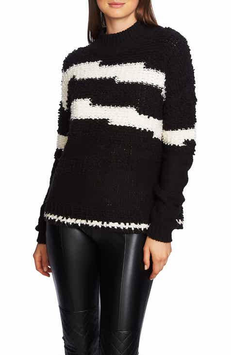 1.STATE Multitexture Mock Neck Sweater