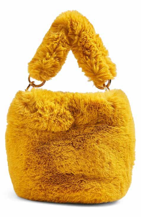 Top Teddy Faux Fur Bucket Bag