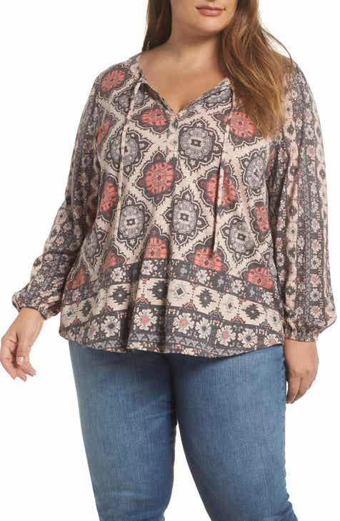 f300377a779 Lucky Brand Printed Tie Neck Top (Plus Size)