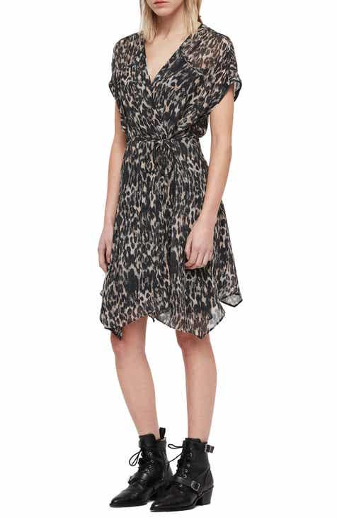 67142b1e46c ALLSAINTS Claria Leopard Print Wrap Dress