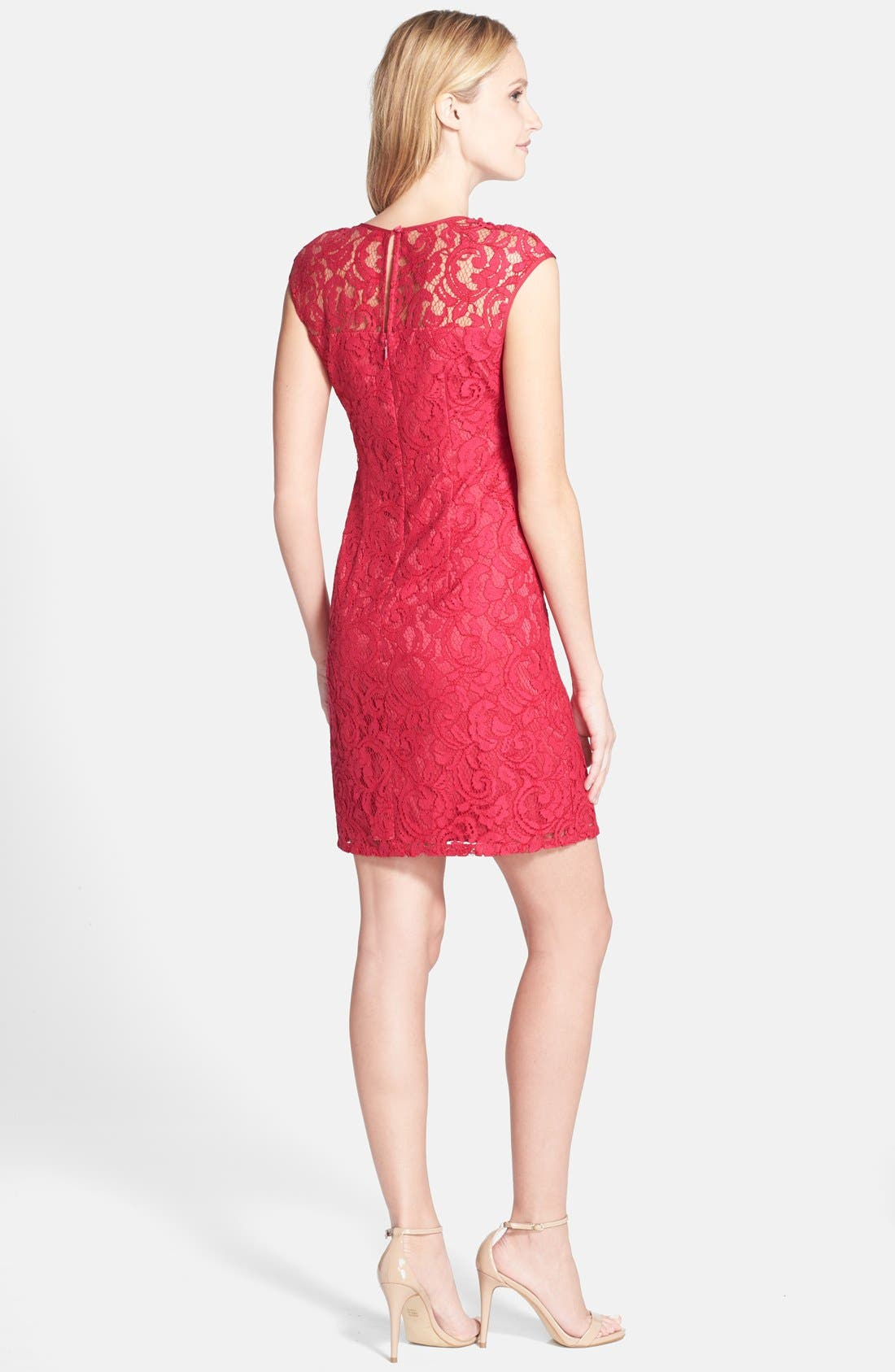 Alternate Image 2  - Adrianna Papell Beaded Lace Sheath Dress (Regular & Petite)