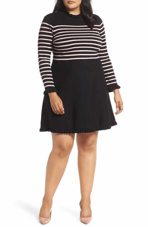 8fb55651139 1901 Mock Neck Stripe Sweater Dress (Plus Size)